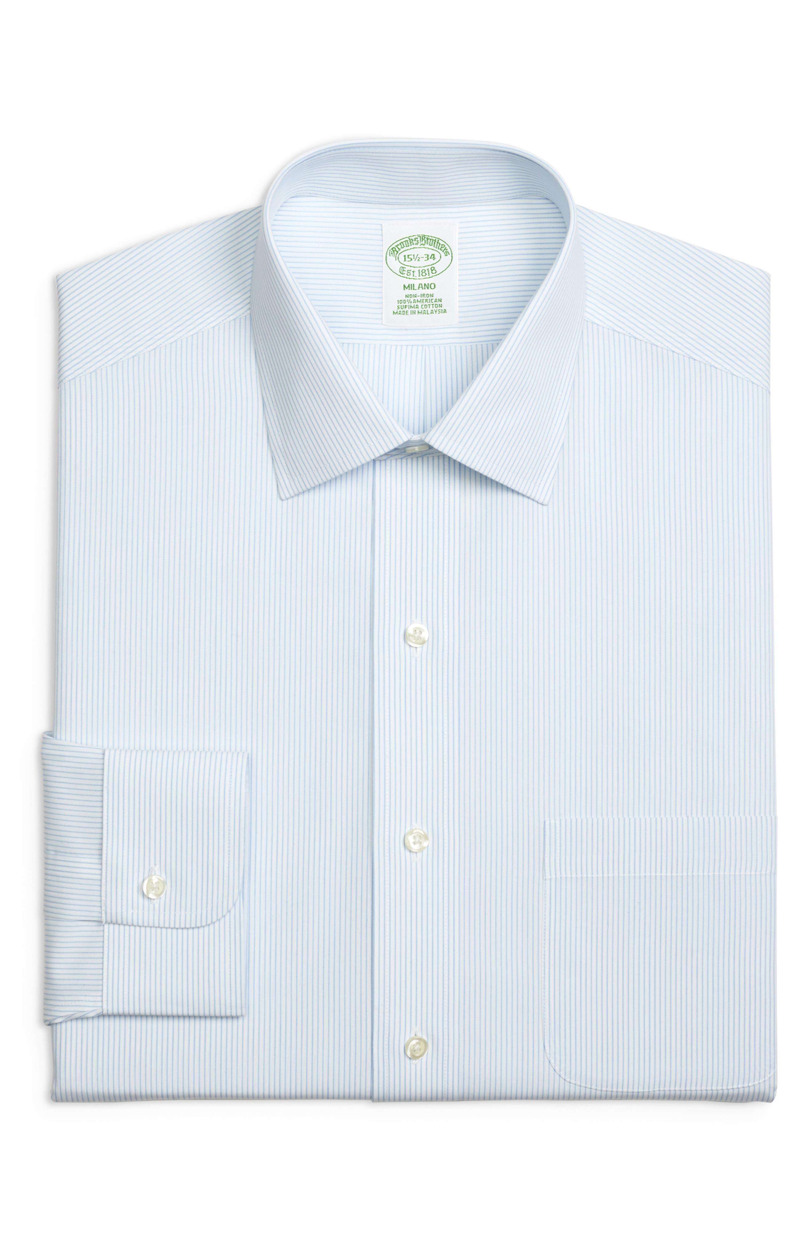 Trim Fit Stripe Dress Shirt,                             Main thumbnail 1, color,                             LIGHT/ PASTEL BLUE
