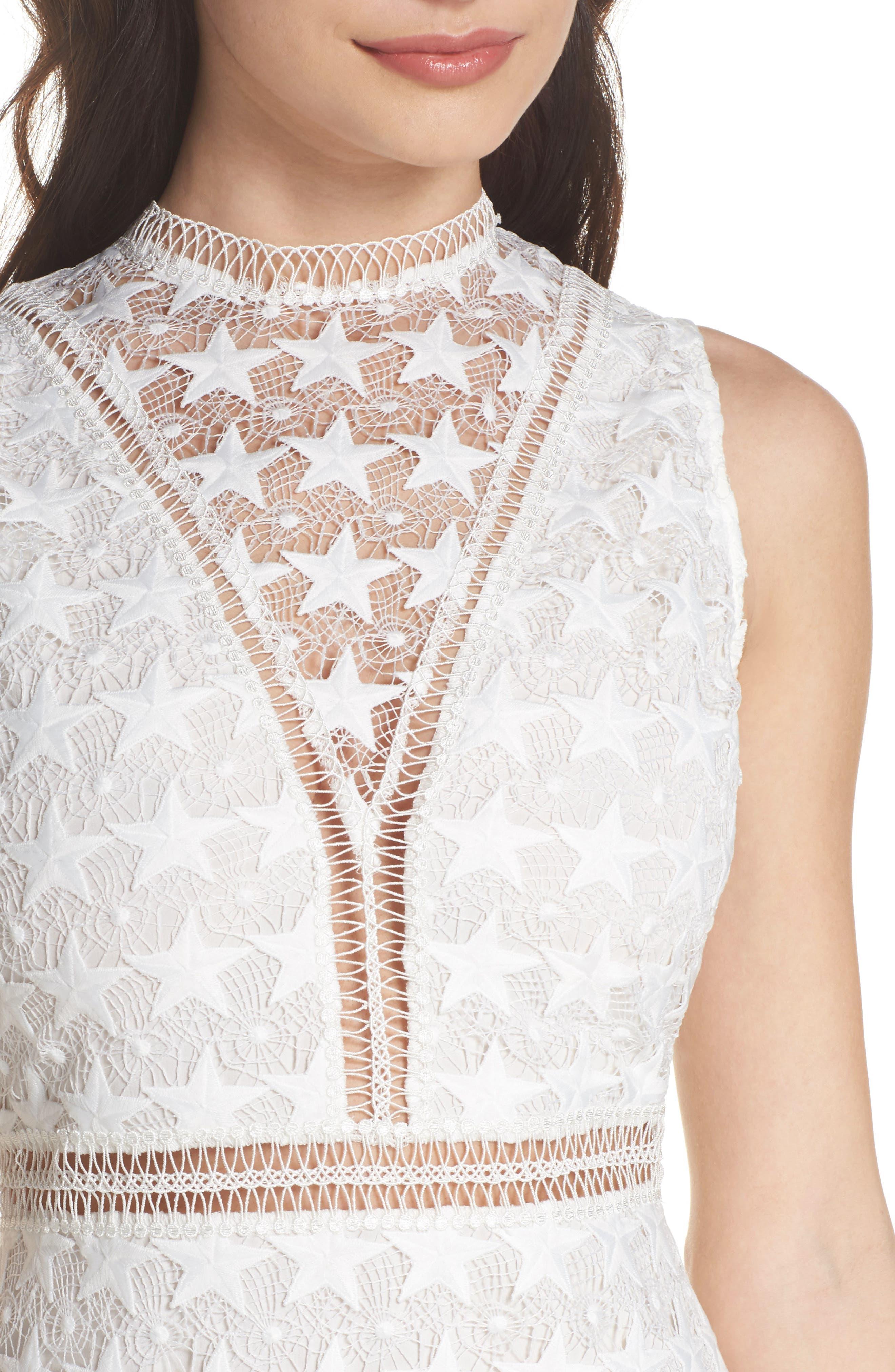 Star Lace Sheath Dress,                             Alternate thumbnail 4, color,                             IVORY