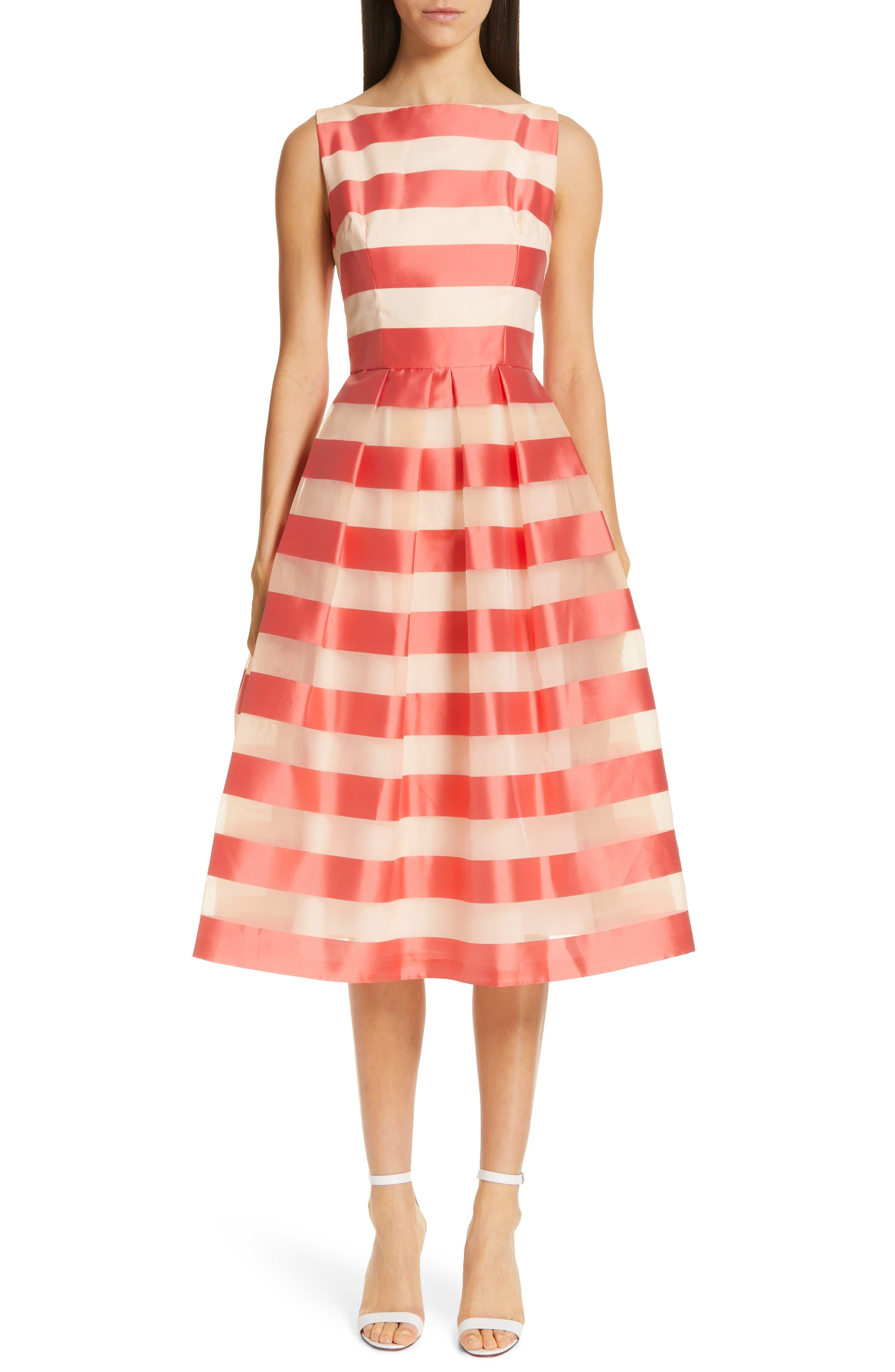 Lela Rose Boatneck Stripe Organza Dress, Coral