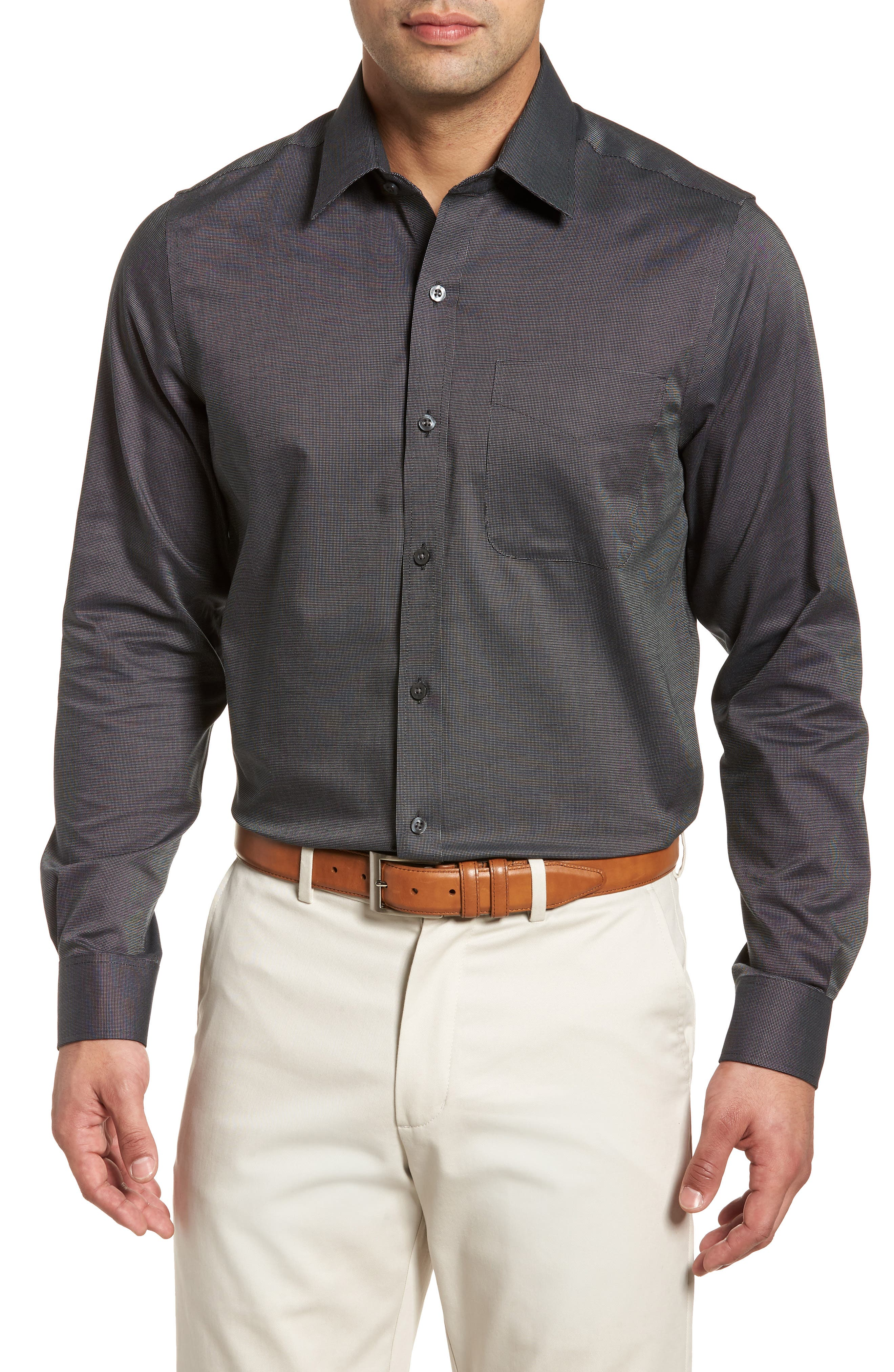 Tailored Fit Sport Shirt,                         Main,                         color, BLACK