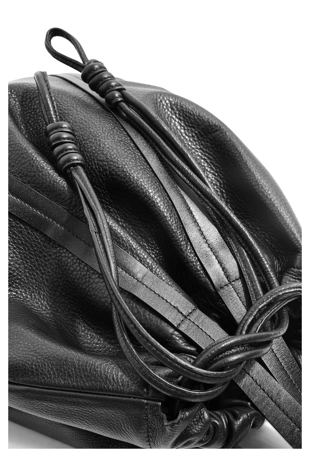 Premium Leather Drawstring Shoulder Bag,                             Alternate thumbnail 5, color,                             001