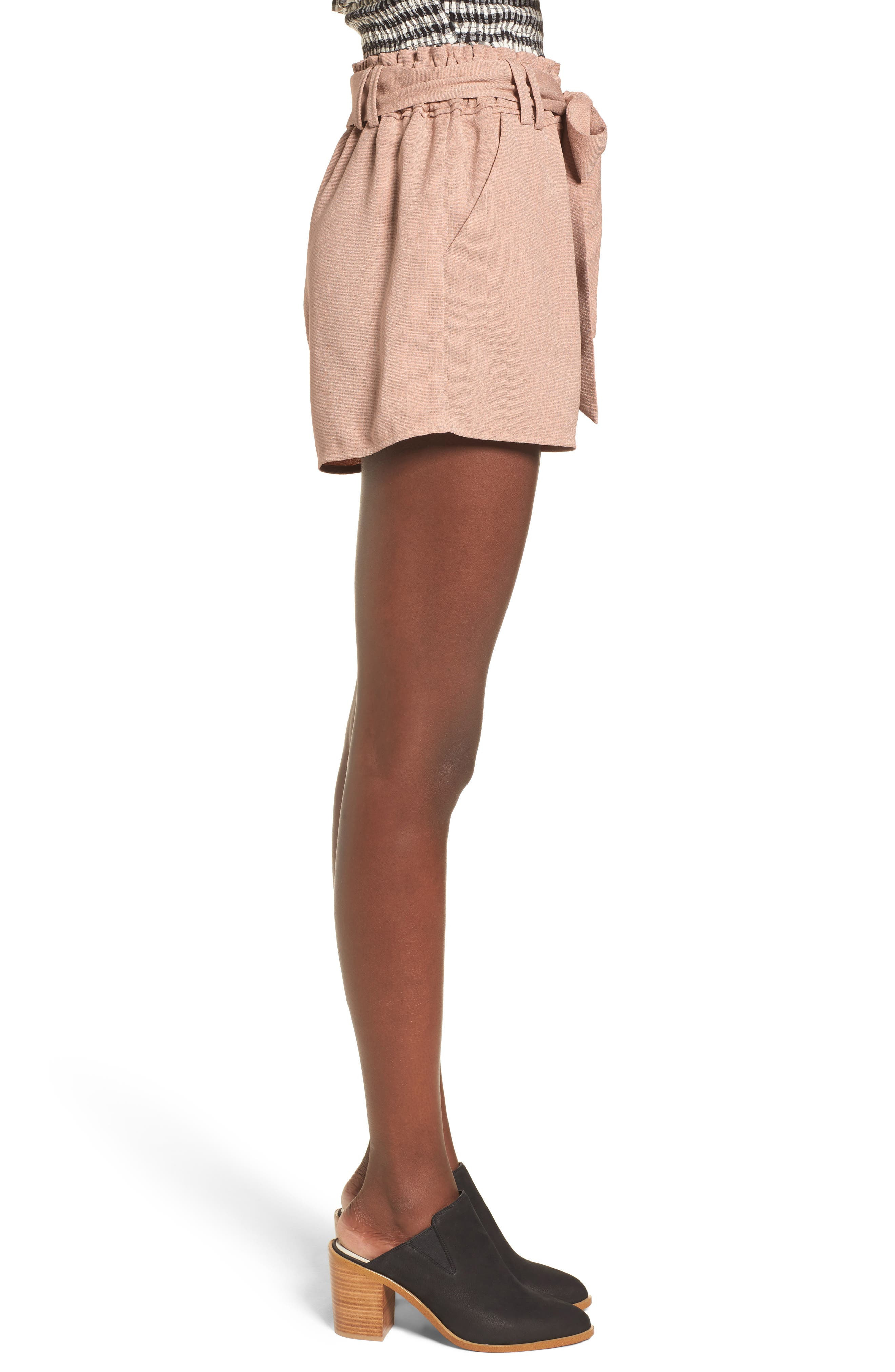 Tie Waist Shorts,                             Alternate thumbnail 3, color,                             DUSTY PINK