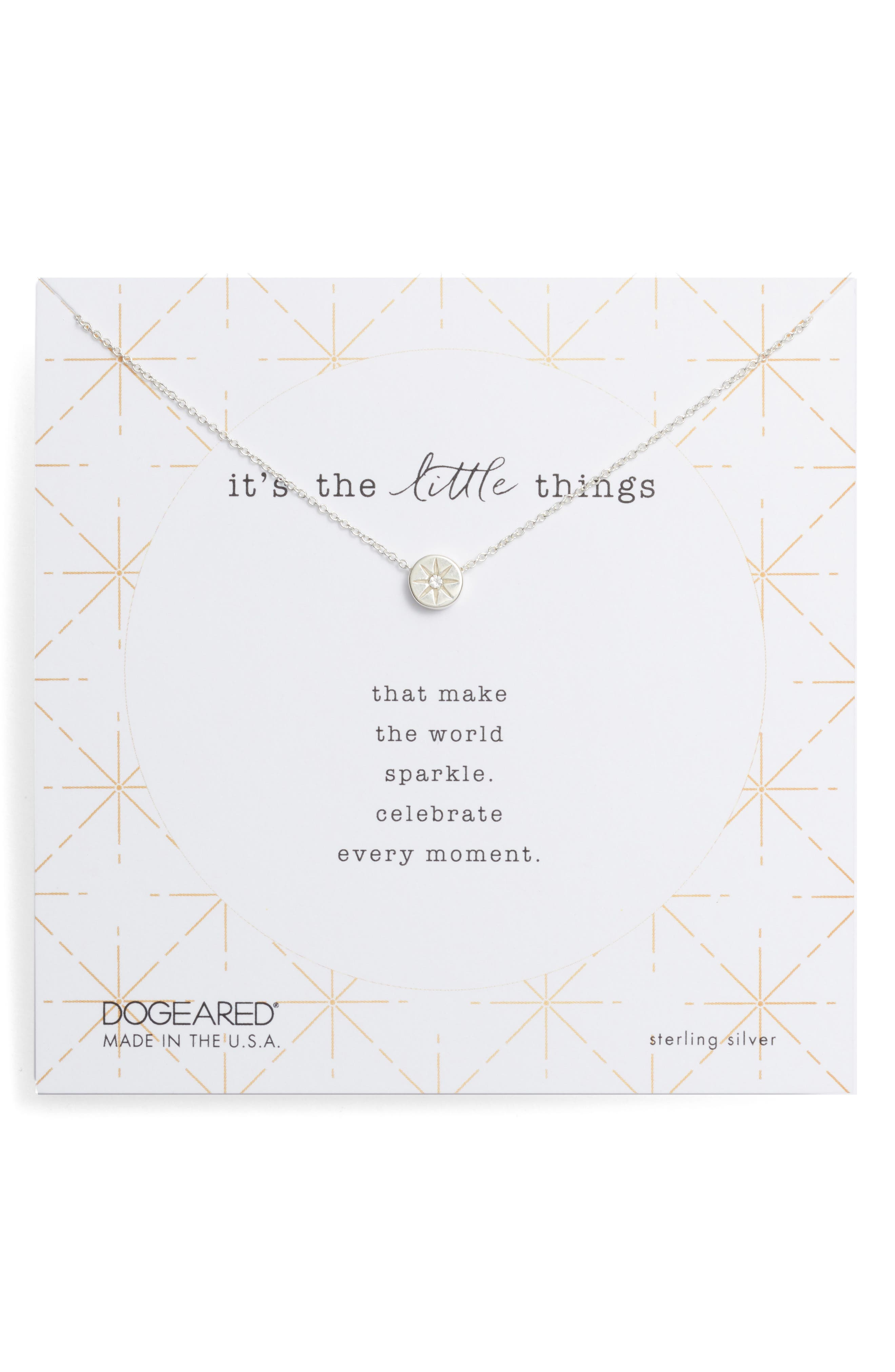 DOGEARED It'S The Little Things Crystal Pendant Necklace in Silver