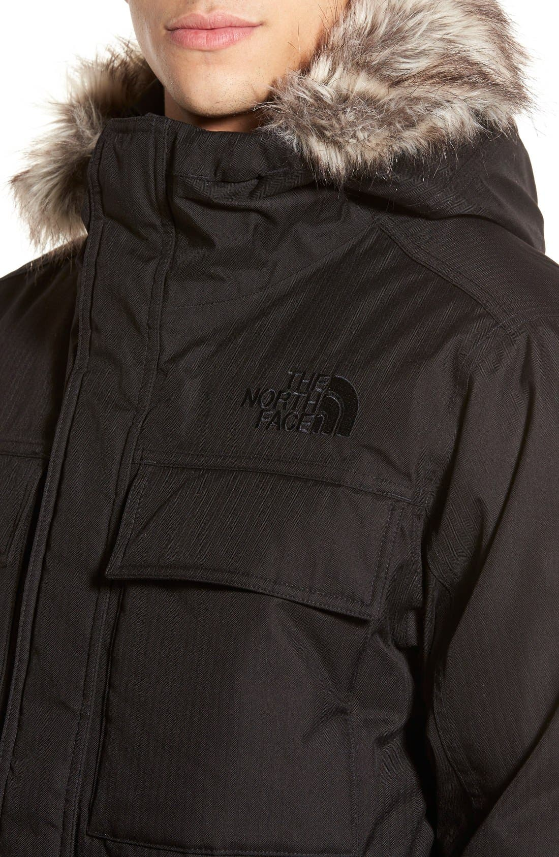 'Gotham II' Hooded Goose Down Jacket with Faux Fur Trim,                             Alternate thumbnail 3, color,                             001
