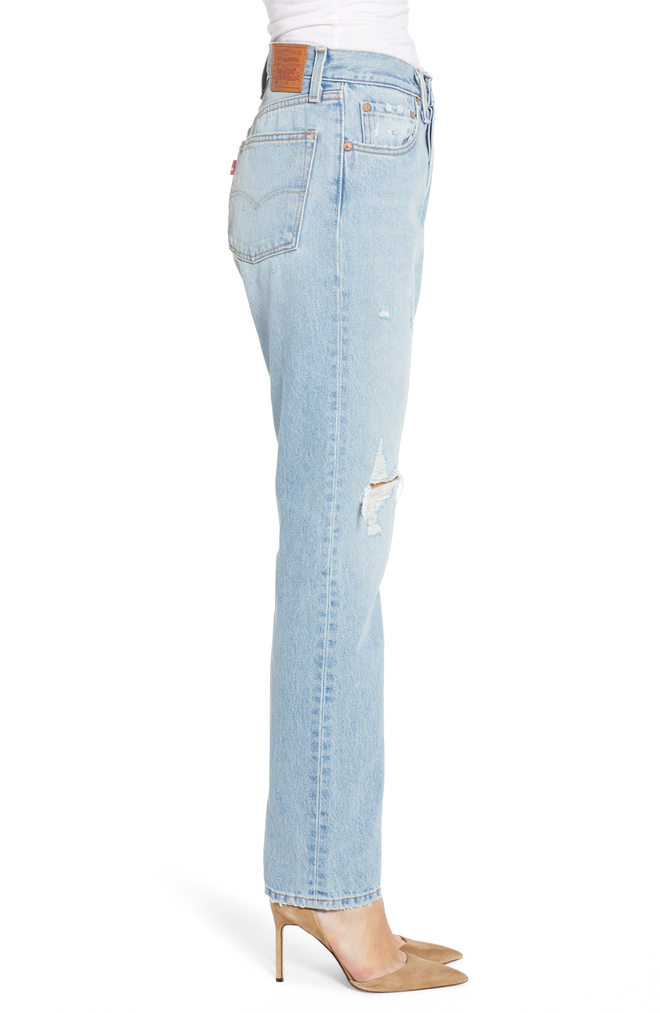501<sup>®</sup> High Waist Ripped Skinny Jeans,                             Alternate thumbnail 3, color,                             STARS AND STRIPES