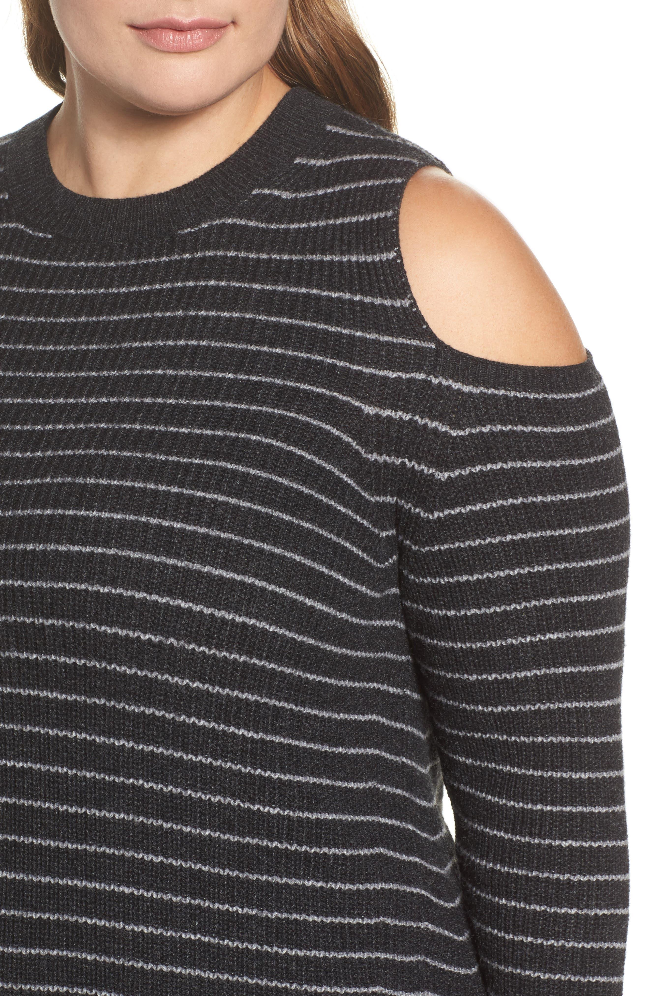 Cold Shoulder Stripe Sweater,                             Alternate thumbnail 4, color,                             020