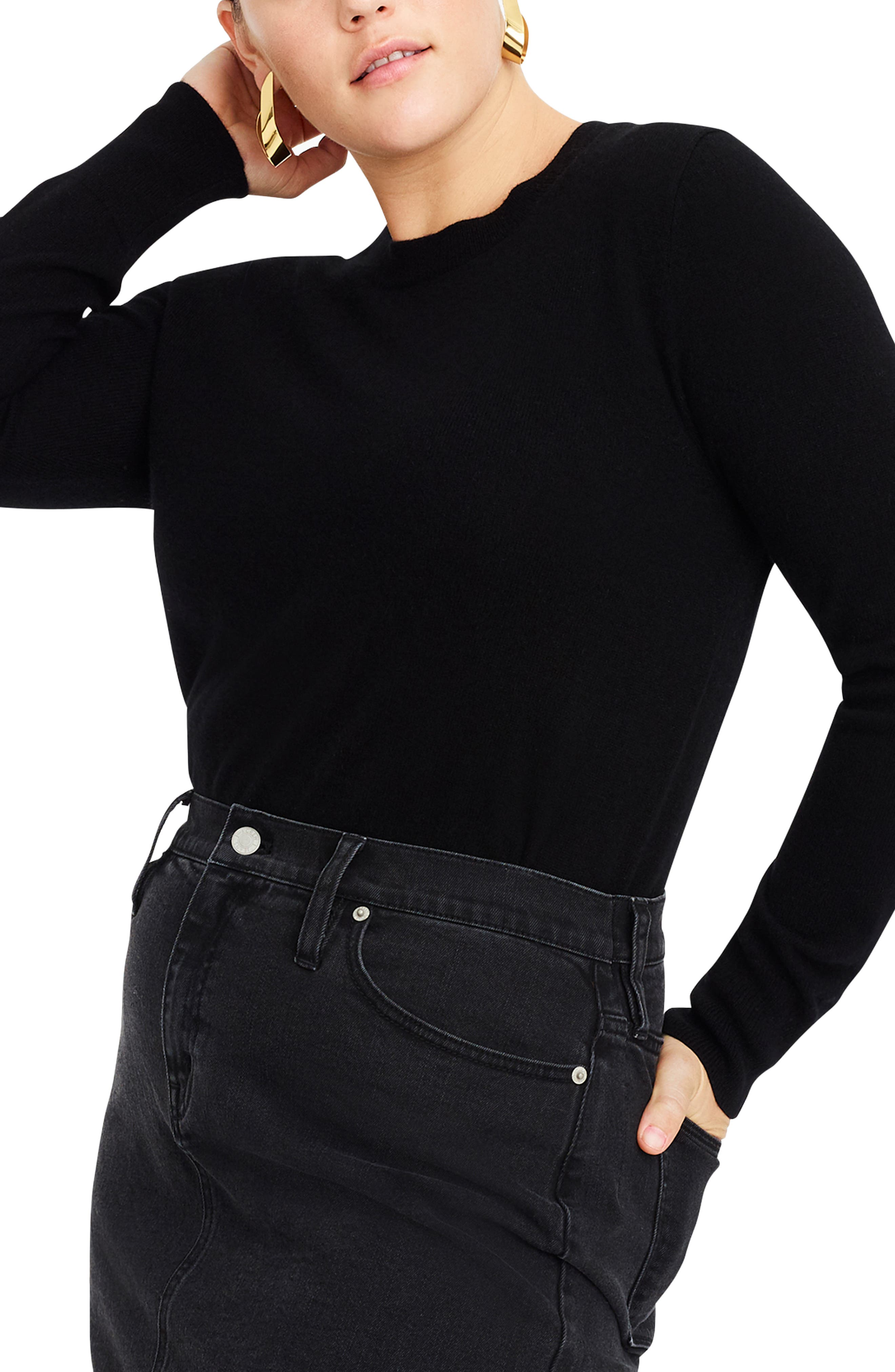 J.CREW,                             Crewneck Cashmere Sweater,                             Alternate thumbnail 2, color,                             BLACK
