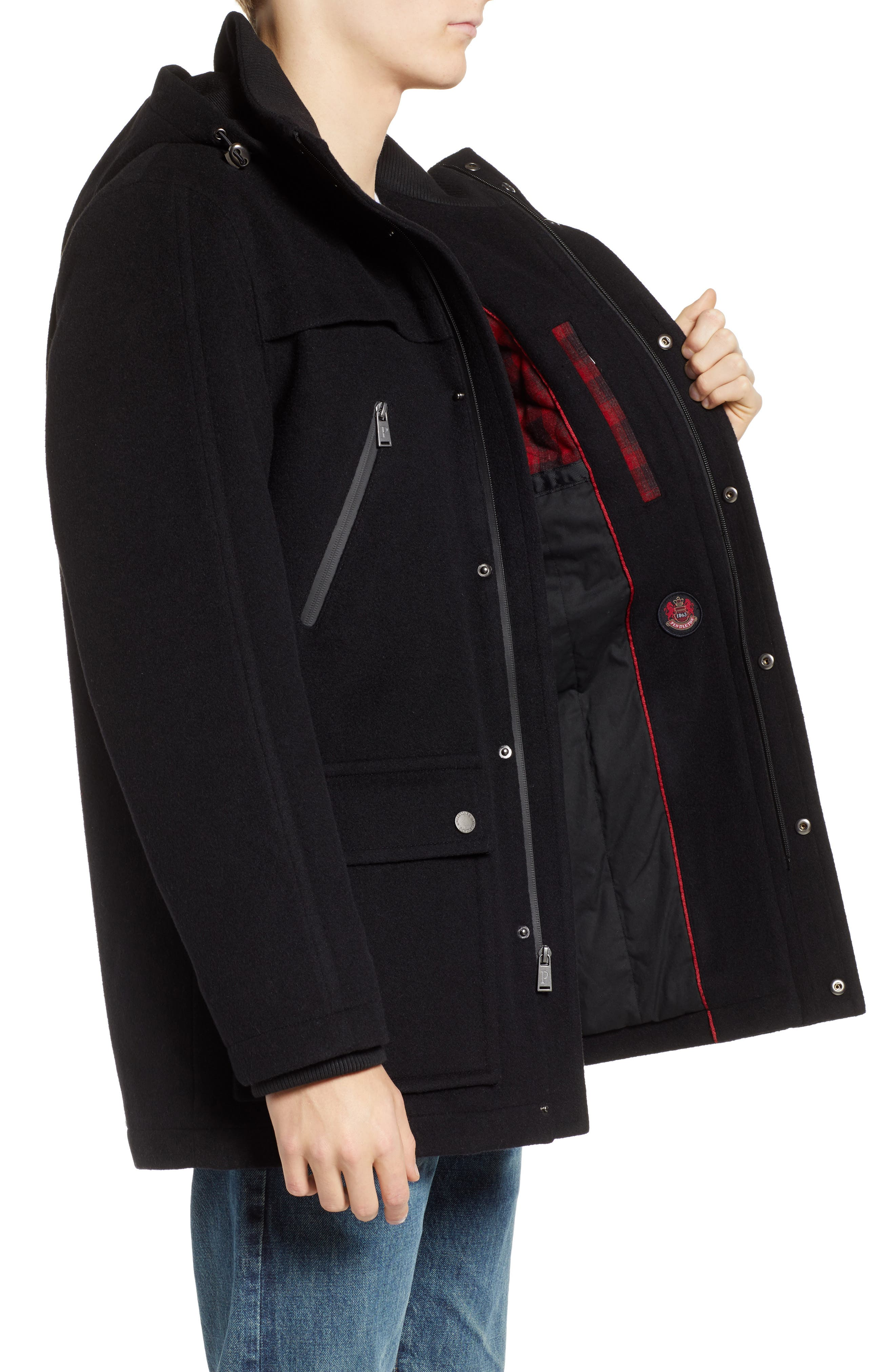 Bainbridge Water Repellent Wool Blend Metro Coat,                             Alternate thumbnail 3, color,                             BLACK