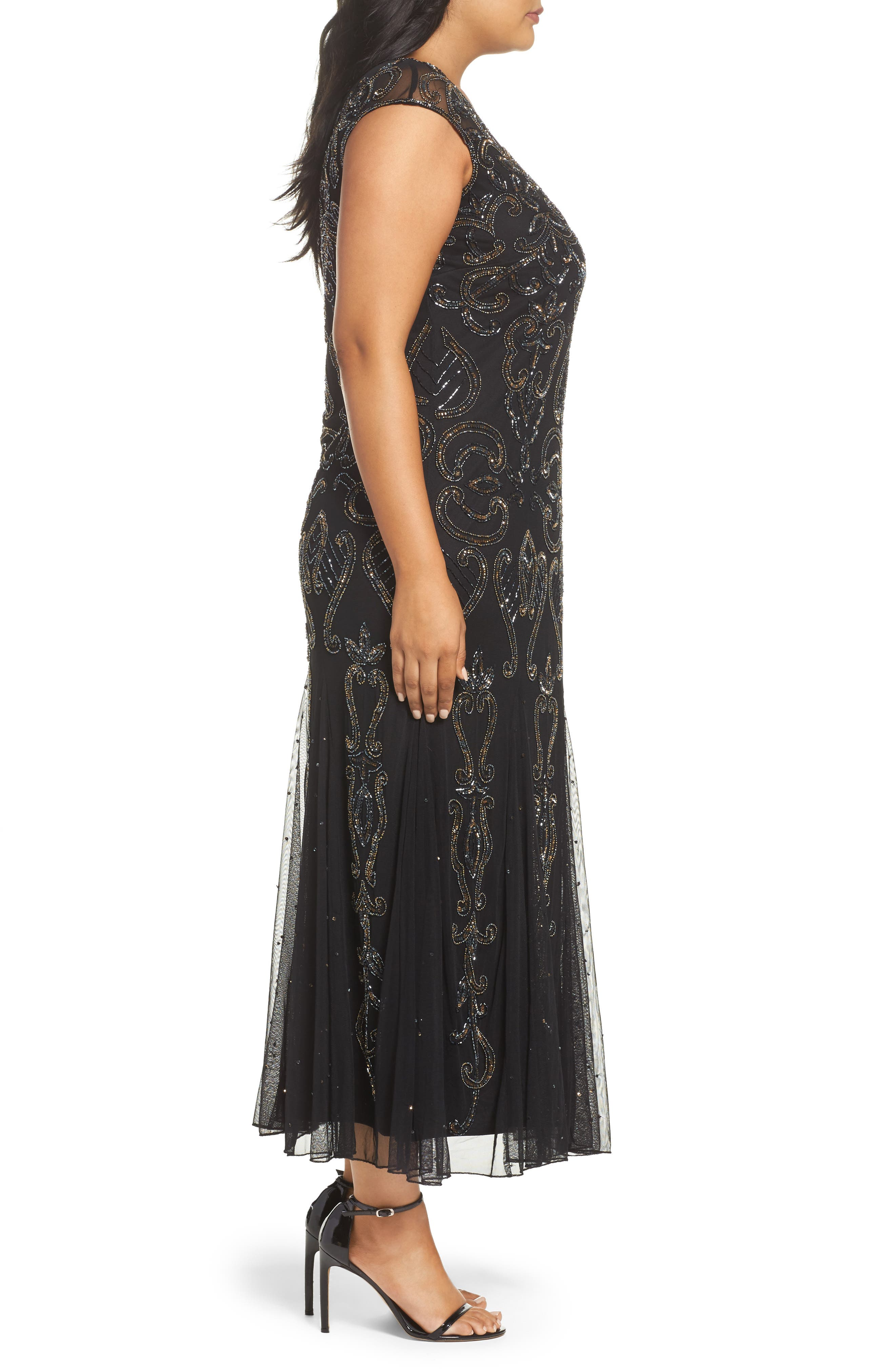 Illusion Neck Beaded A-Line Gown,                             Alternate thumbnail 3, color,                             001