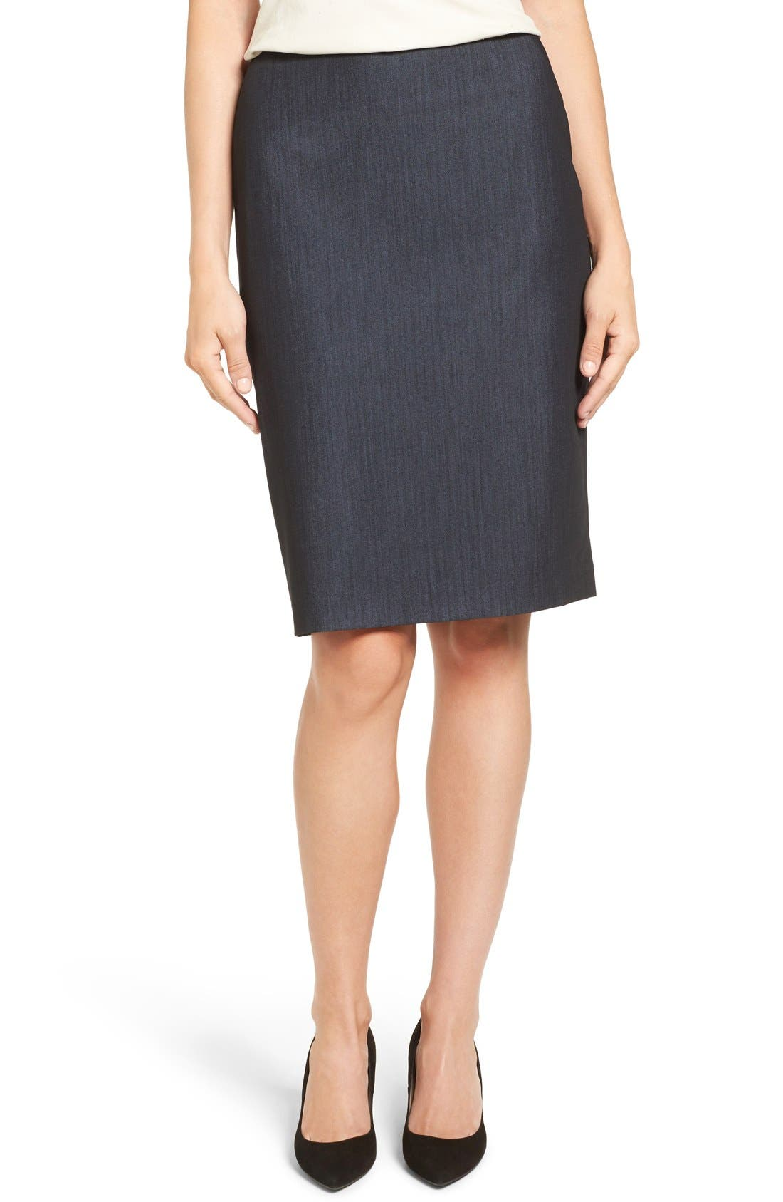 ANNE KLEIN,                             Stretch Woven Suit Skirt,                             Main thumbnail 1, color,                             INDIGO TWILL