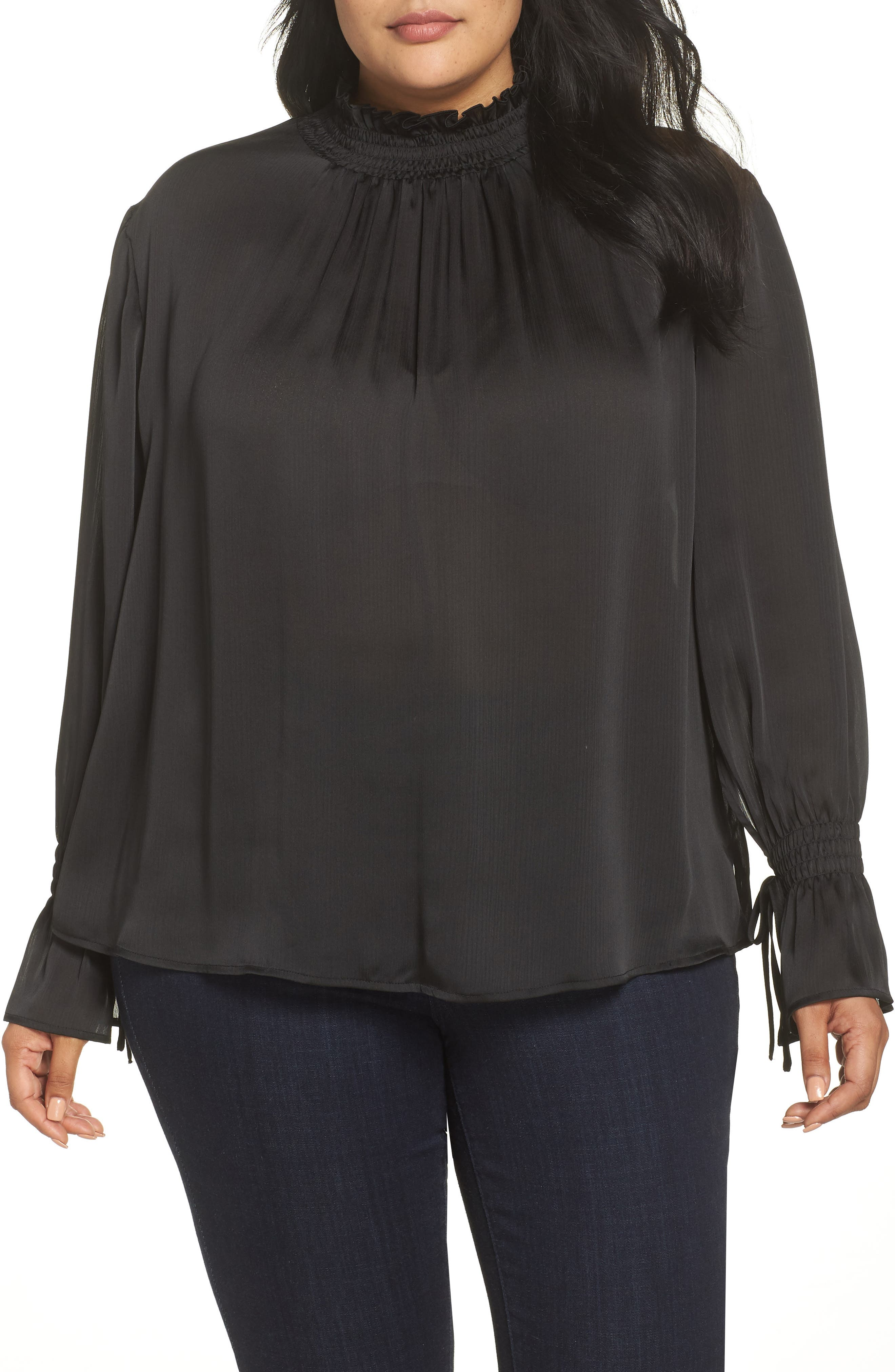 VINCE CAMUTO Flare Tie Cuff Satin Blouse, Main, color, 004
