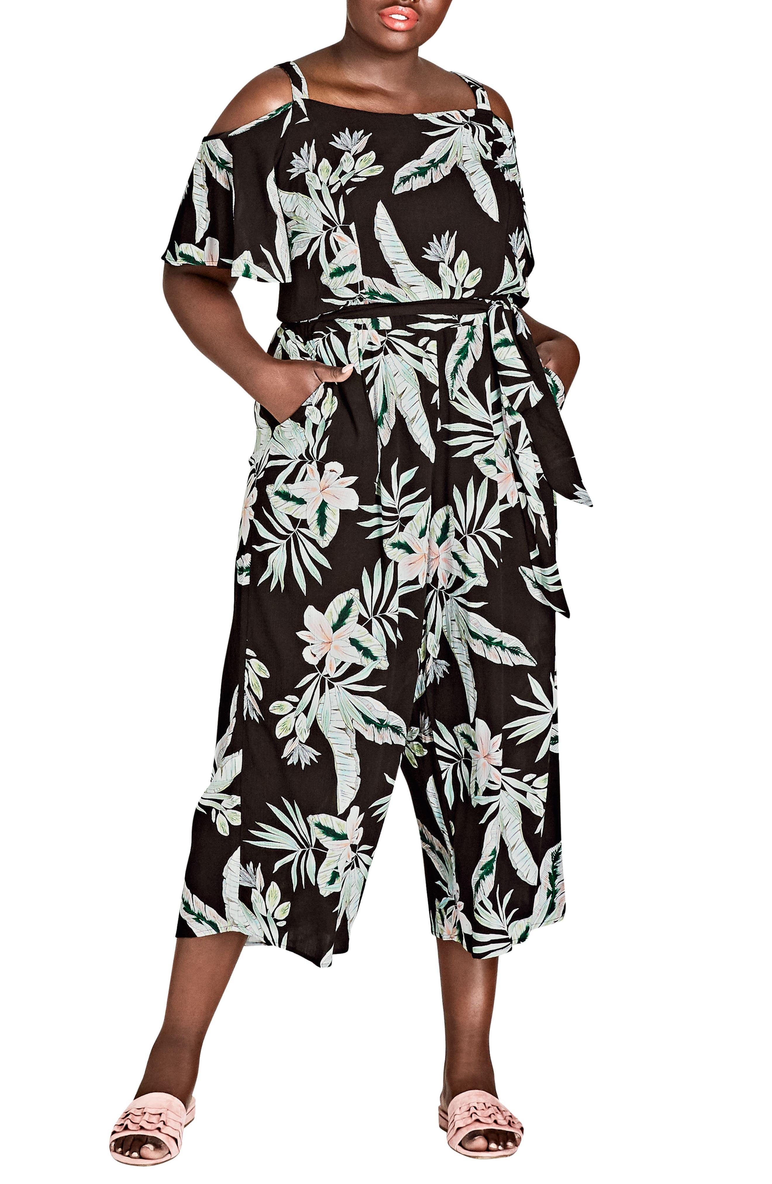 Oahu Floral Cold Shoulder Jumpsuit,                             Main thumbnail 1, color,