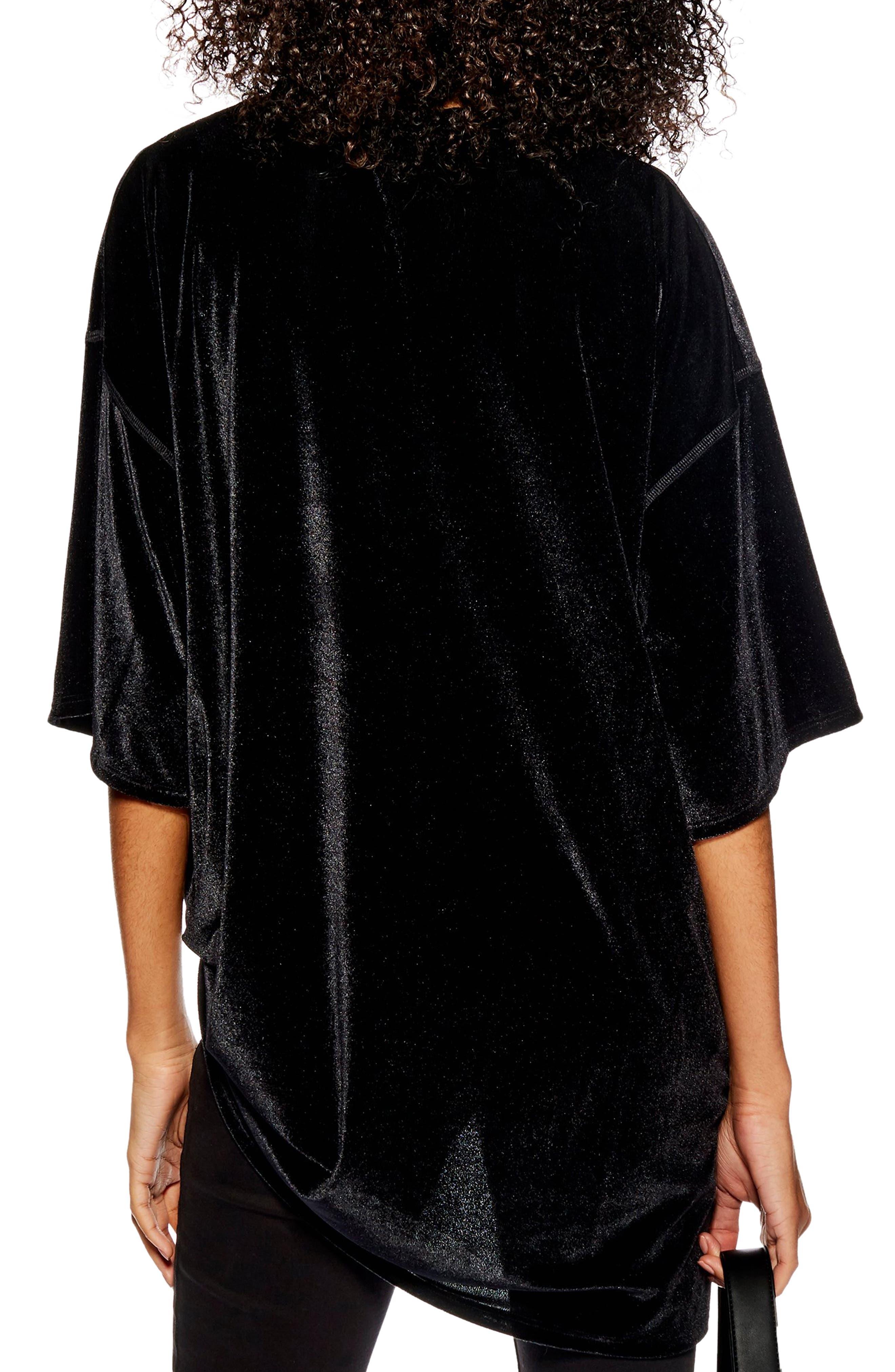 Velvet Tunic Shirt,                             Alternate thumbnail 2, color,                             BLACK