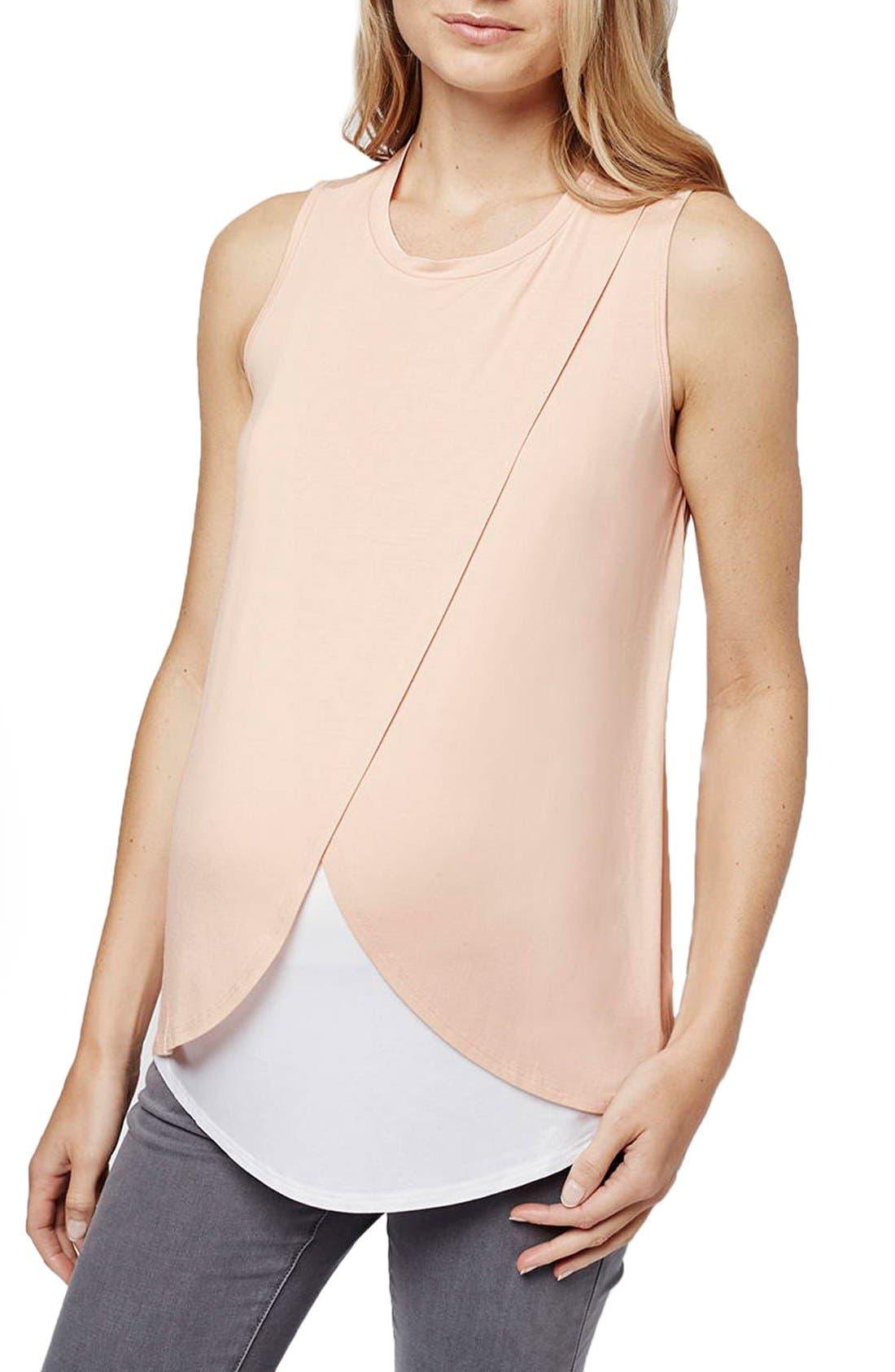 Short Sleeve Drape Maternity/Nursing Tee,                         Main,                         color, 650