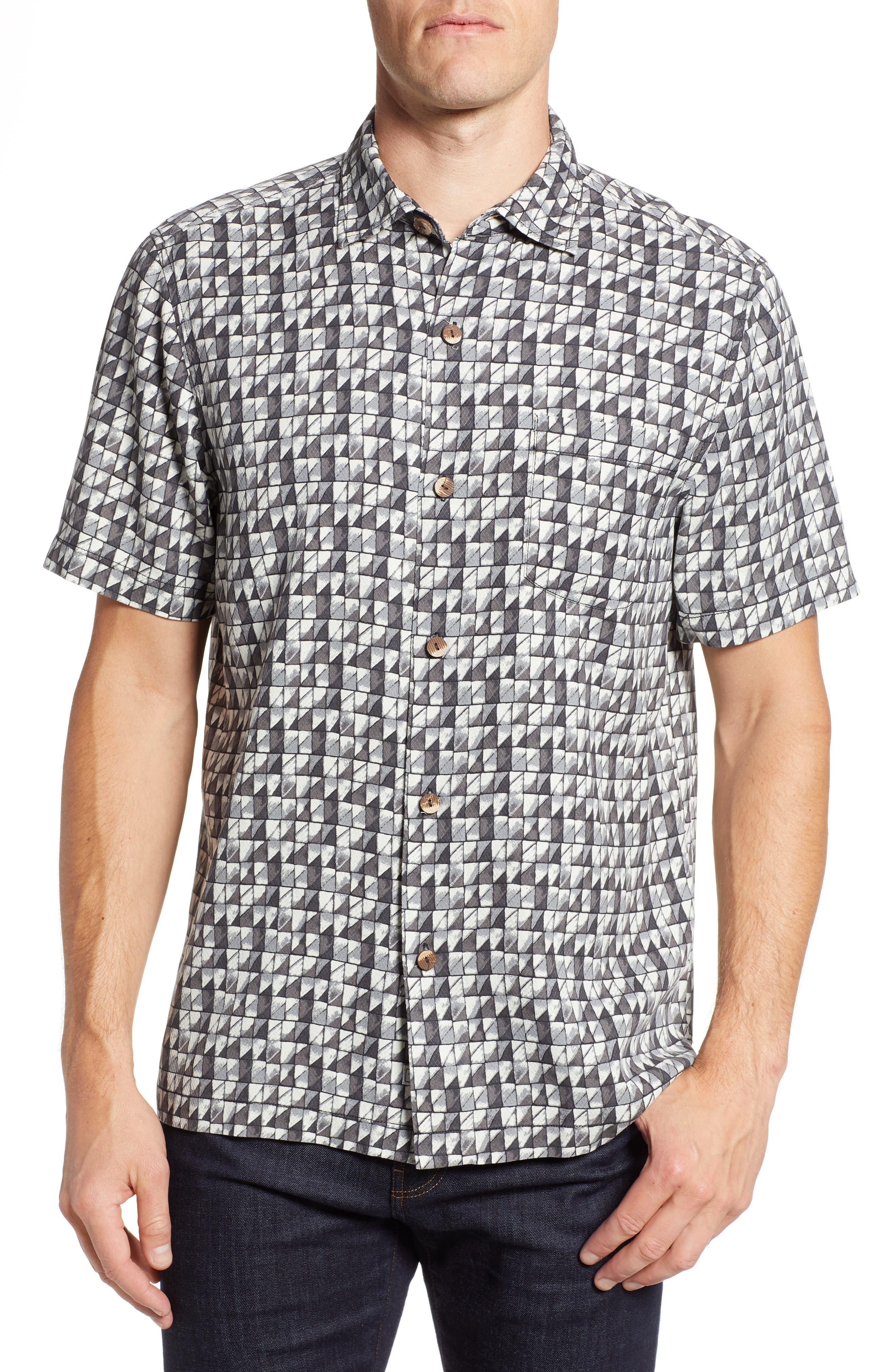 Poquito Geo Print Silk Sport Shirt,                             Main thumbnail 1, color,                             BLACK