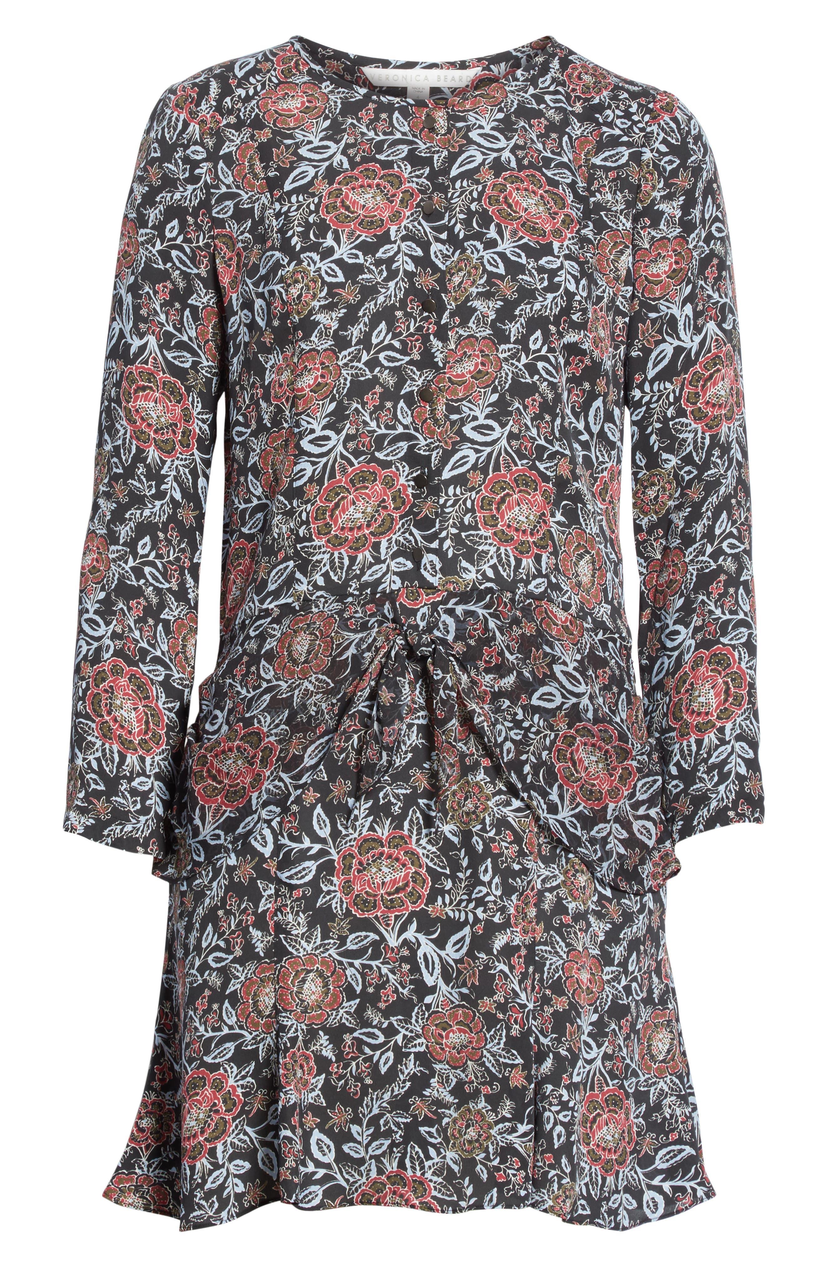 VERONICA BEARD,                             Dropped Tie Waist Silk Dress,                             Alternate thumbnail 6, color,                             600