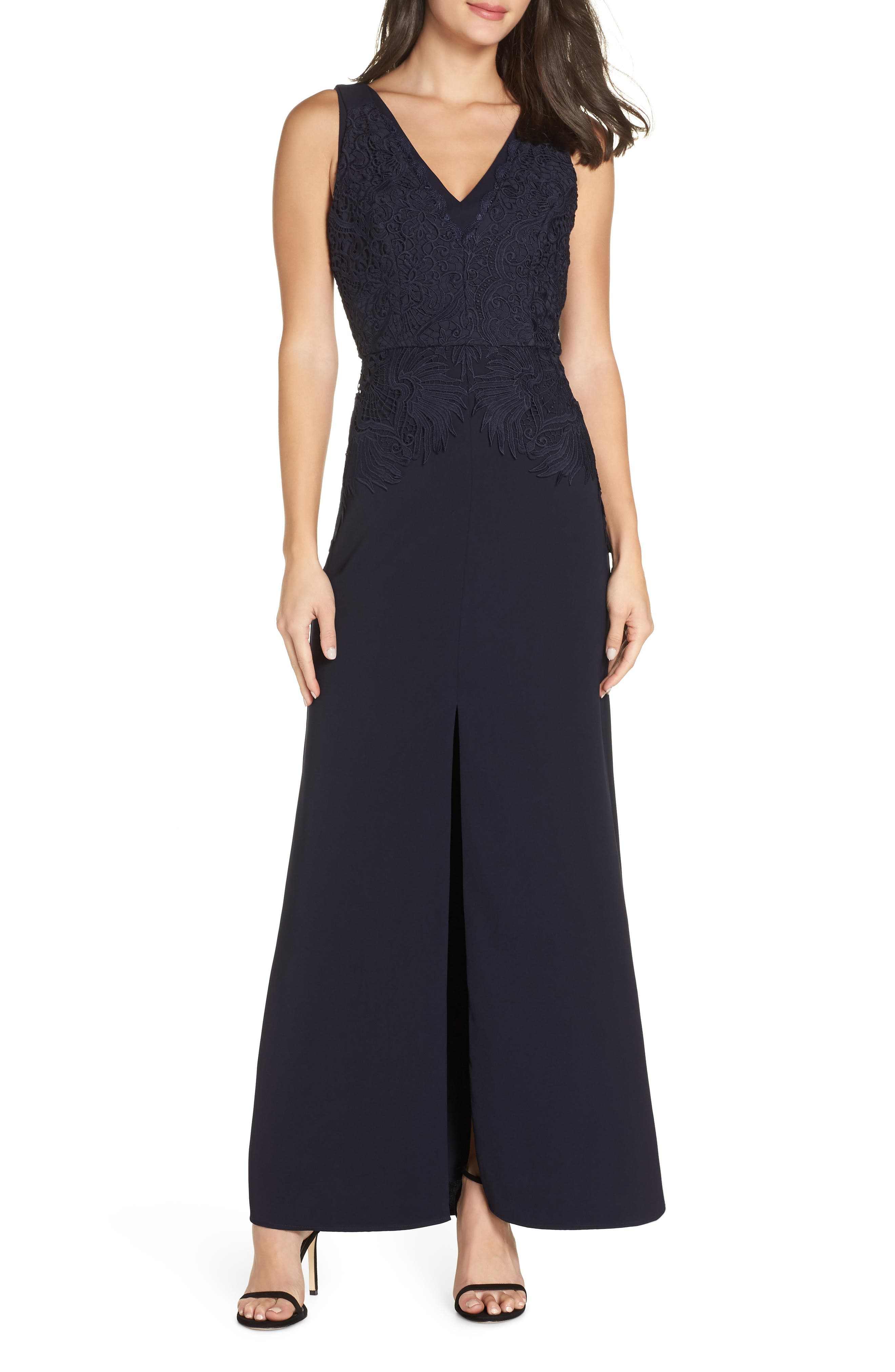 Harlyn V-Neck Lace Top Gown