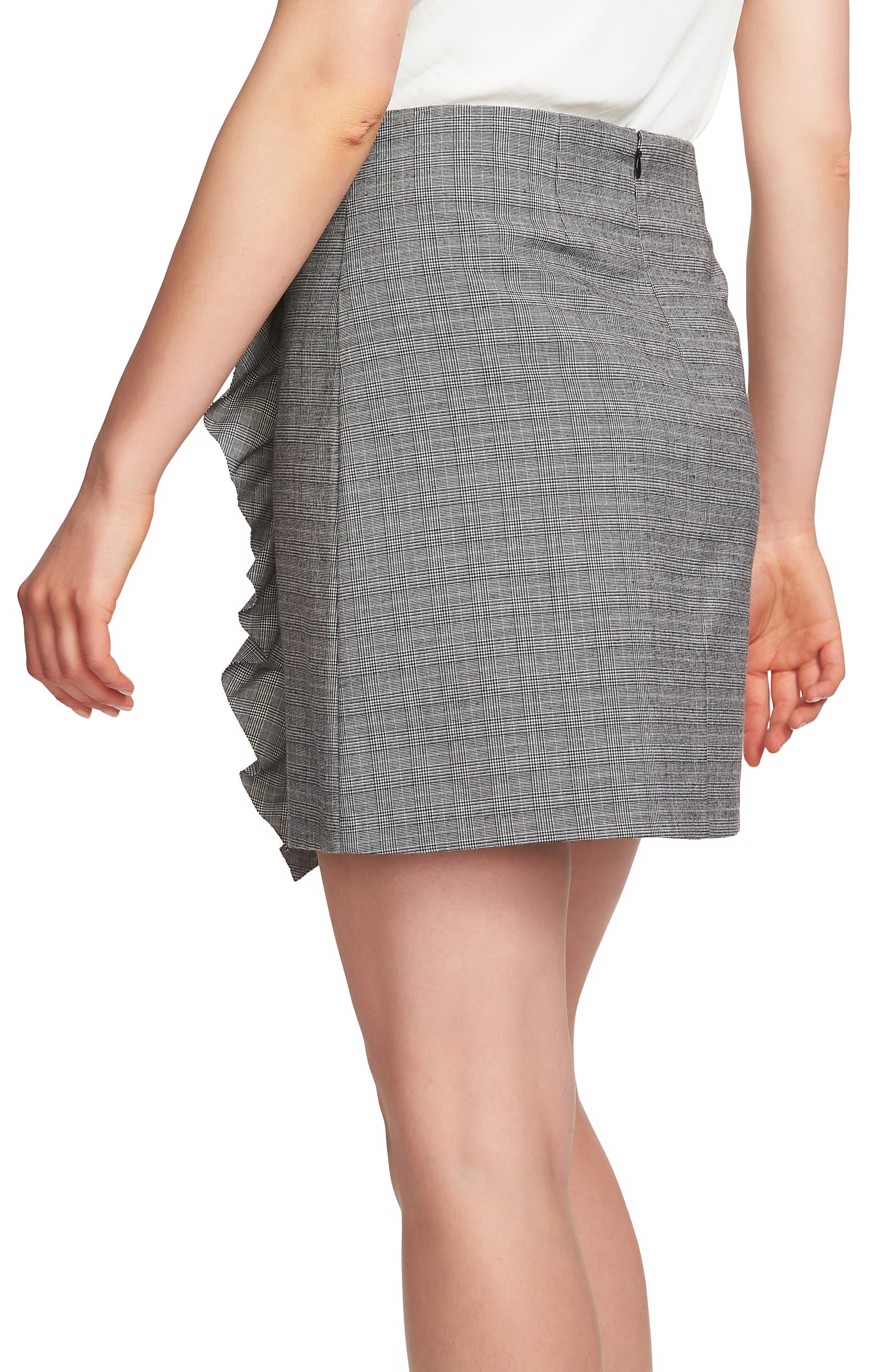 Glen Plaid Ruffle Plaid Miniskirt,                             Alternate thumbnail 2, color,                             006