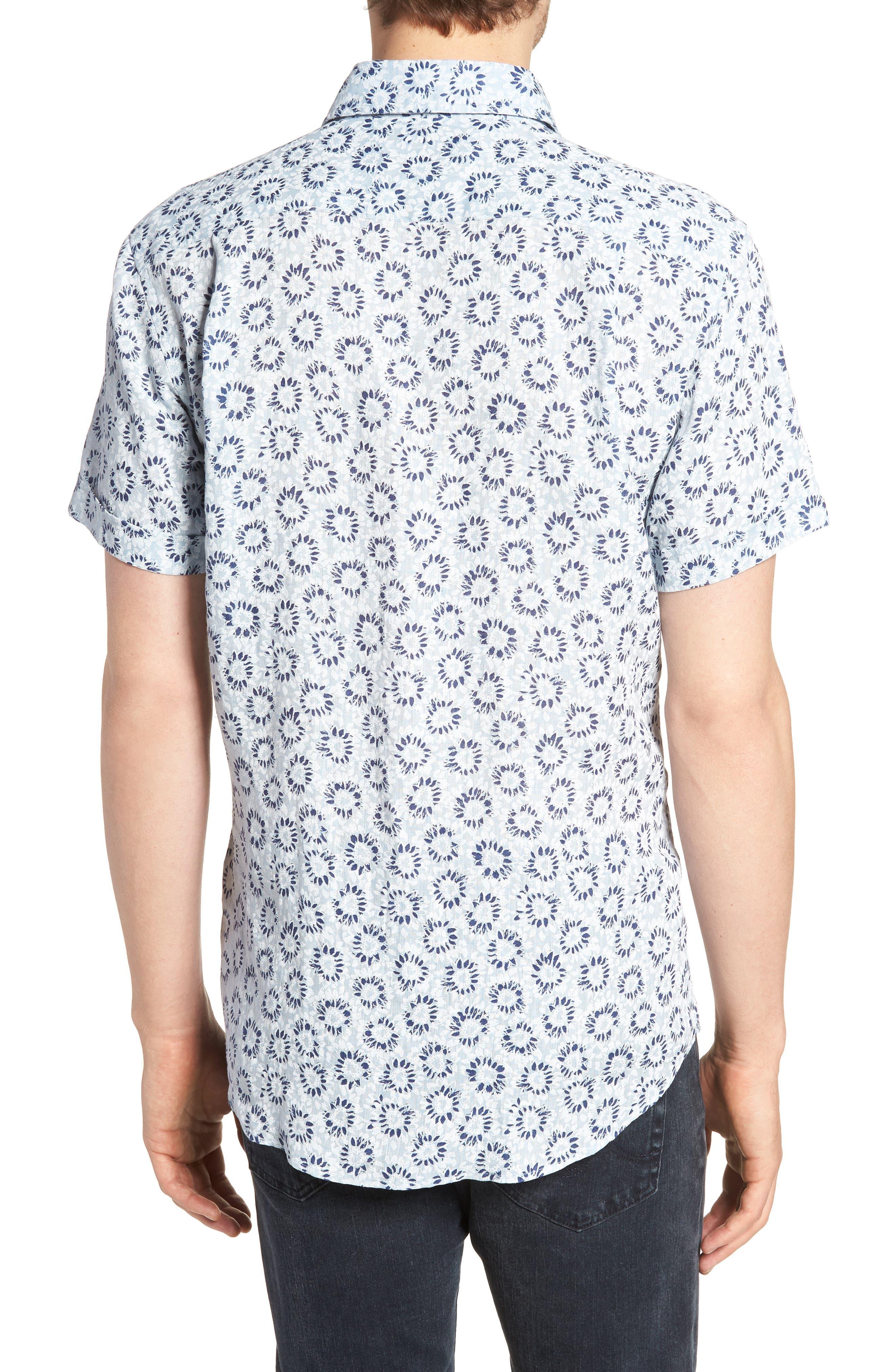 Alford Forest Floral Linen Sport Shirt,                             Alternate thumbnail 2, color,                             SKY