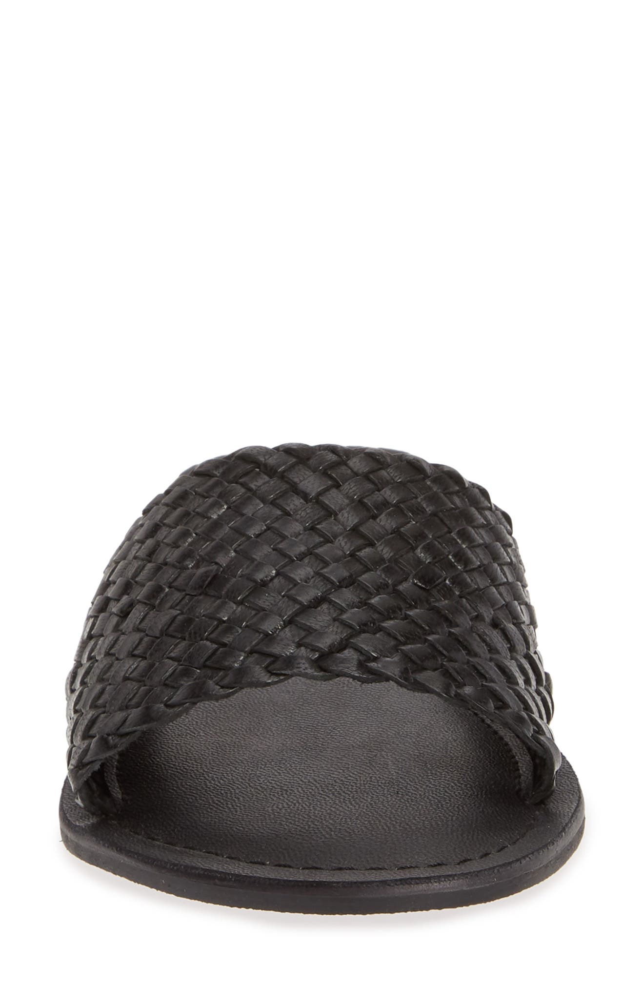 COCONUTS BY MATISSE,                             Zuma Woven Slide Sandal,                             Alternate thumbnail 4, color,                             BLACK LEATHER