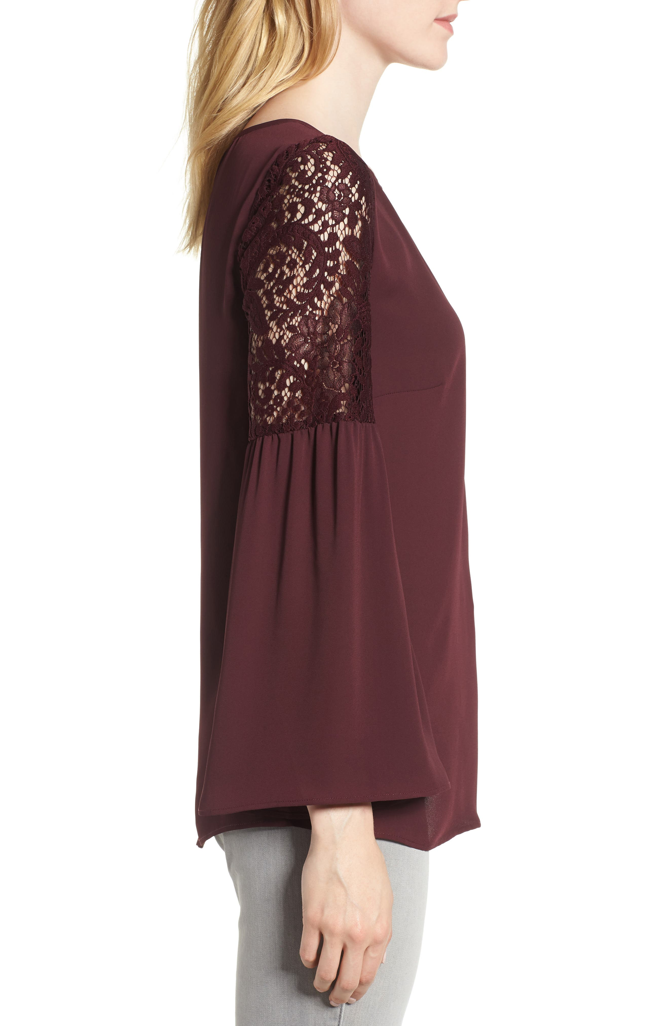 Lace Bell Sleeve Top,                             Alternate thumbnail 3, color,                             BURGUNDY STEM