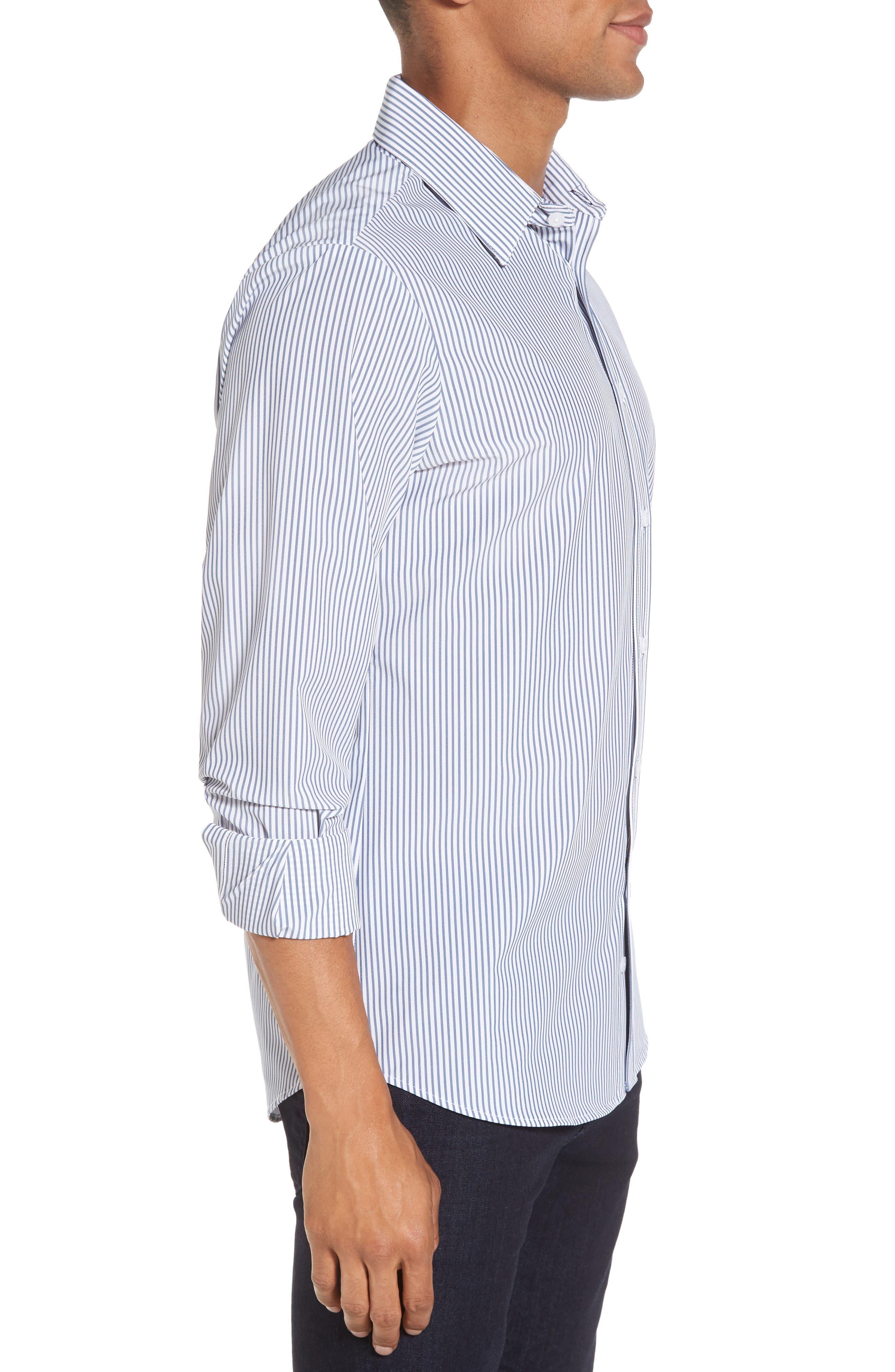 MIZZEN+MAIN,                             Blue Label Wilkes Stripe Performance Sport Shirt,                             Alternate thumbnail 3, color,                             BLUE