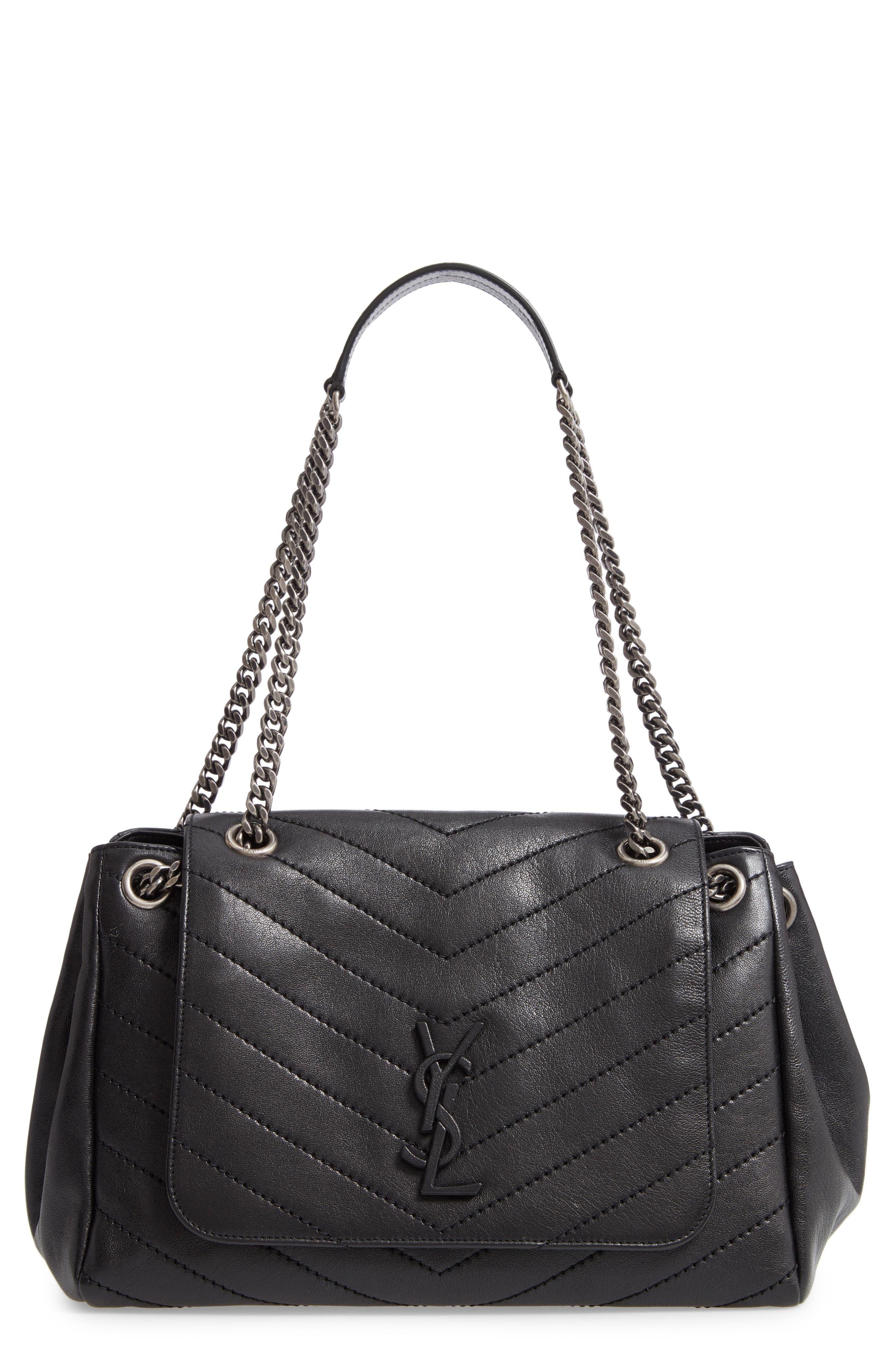 Nolita Large Leather Shoulder Bag,                             Main thumbnail 1, color,                             NOIR