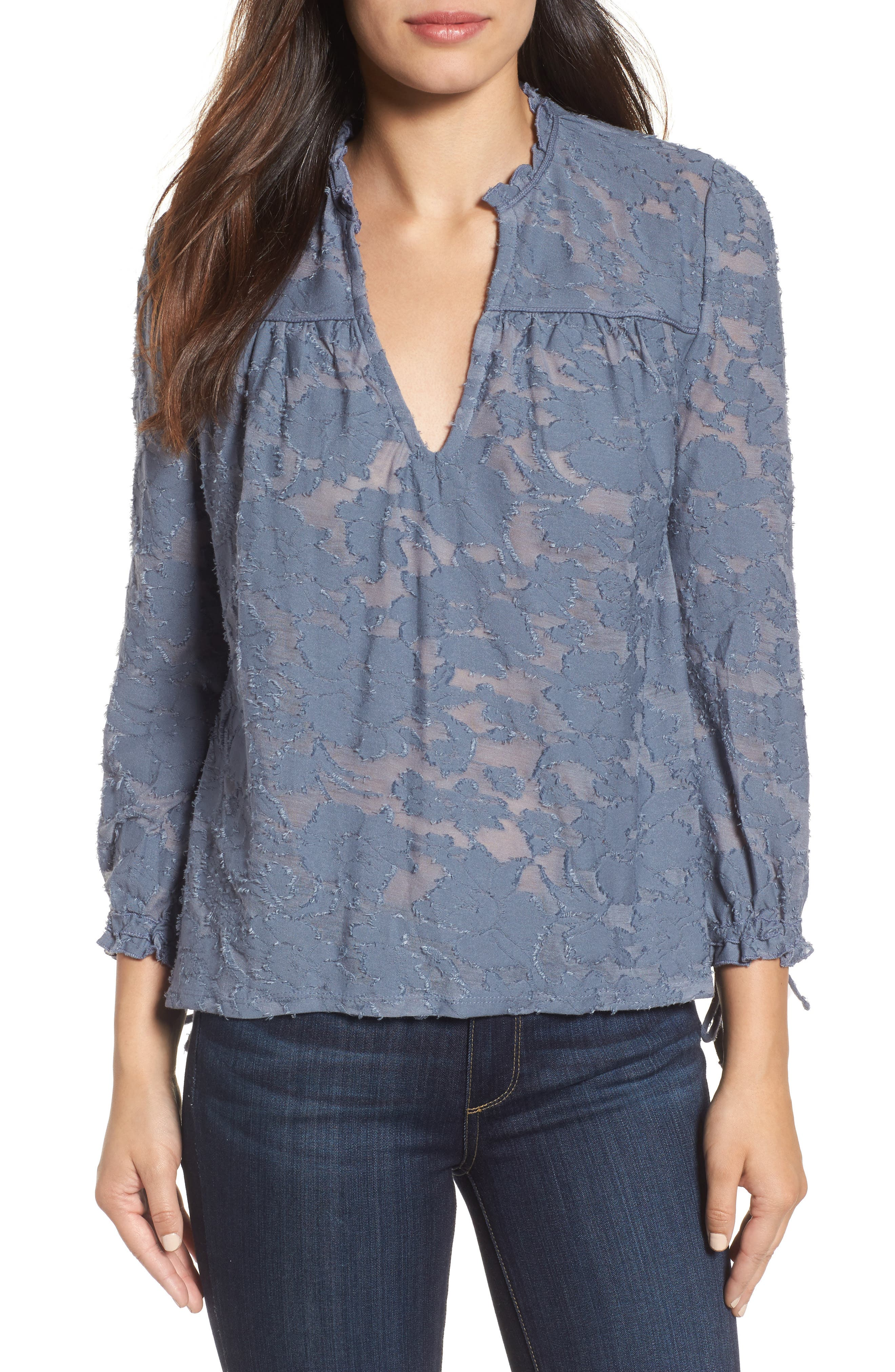 Floral Clipped Jacquard Top,                         Main,                         color, 420