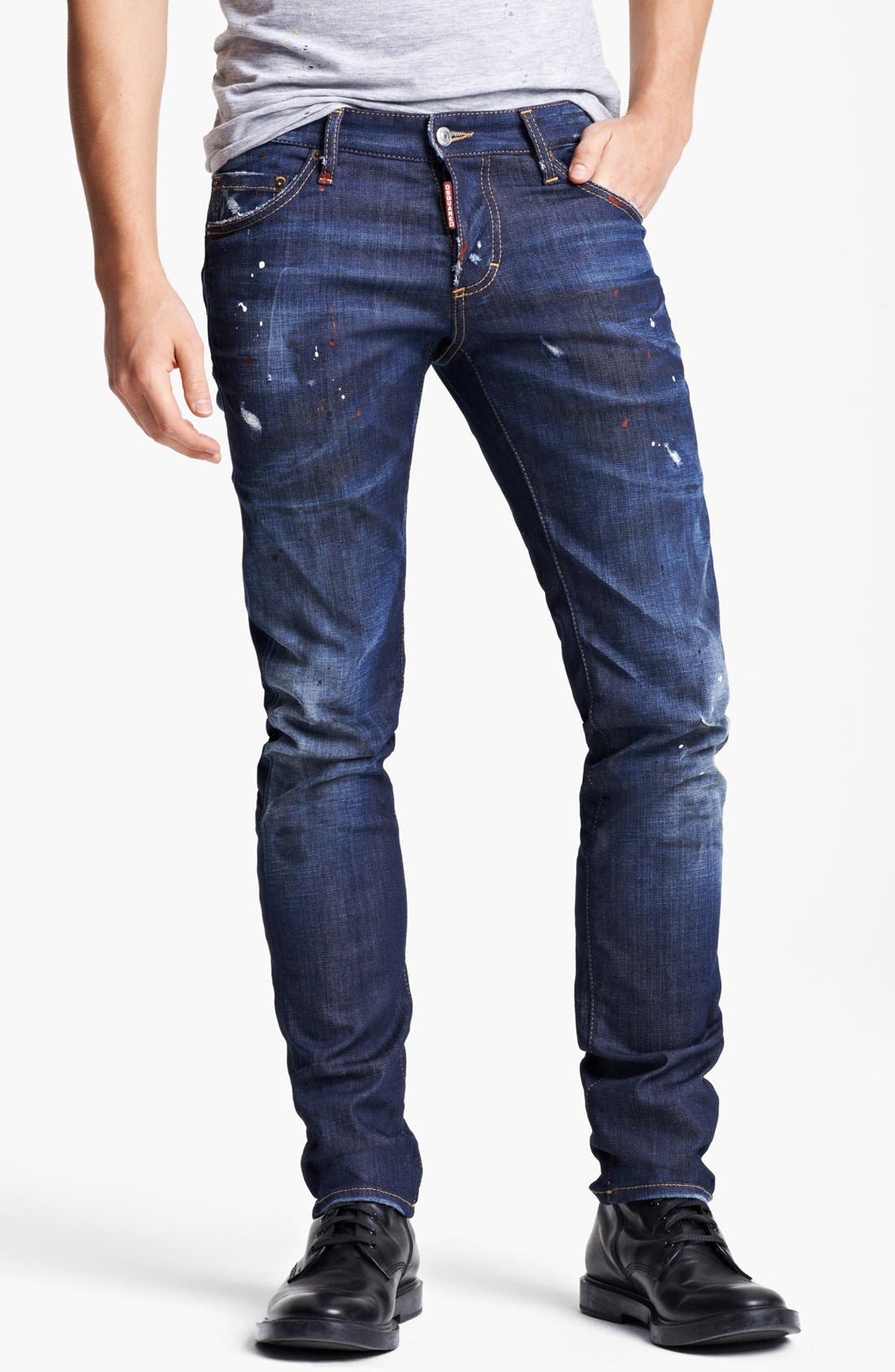 Paint Splattered Slim Fit Jeans, Main, color, 400