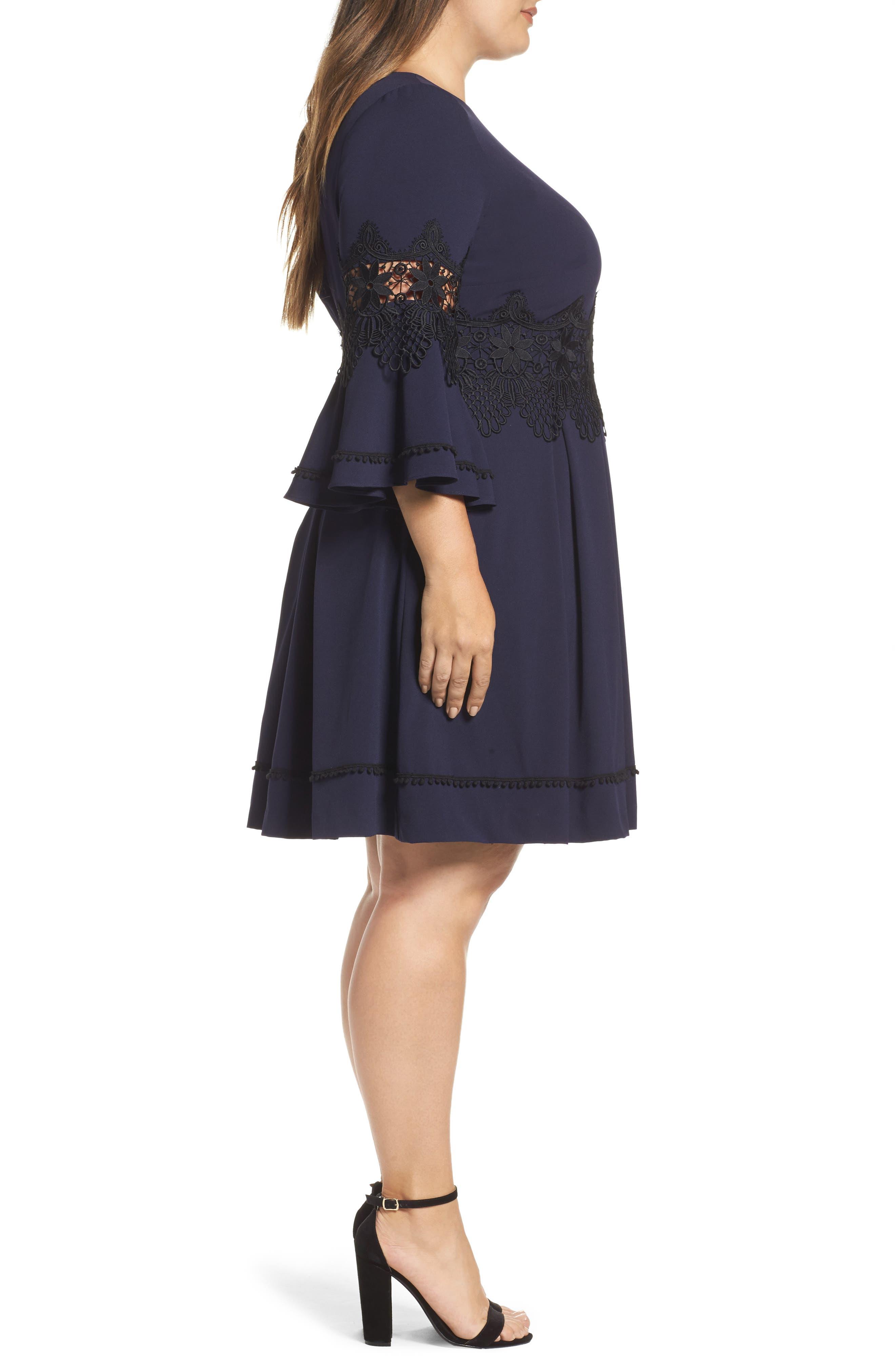 Lace Appliqué A-Line Dress,                             Alternate thumbnail 3, color,                             488