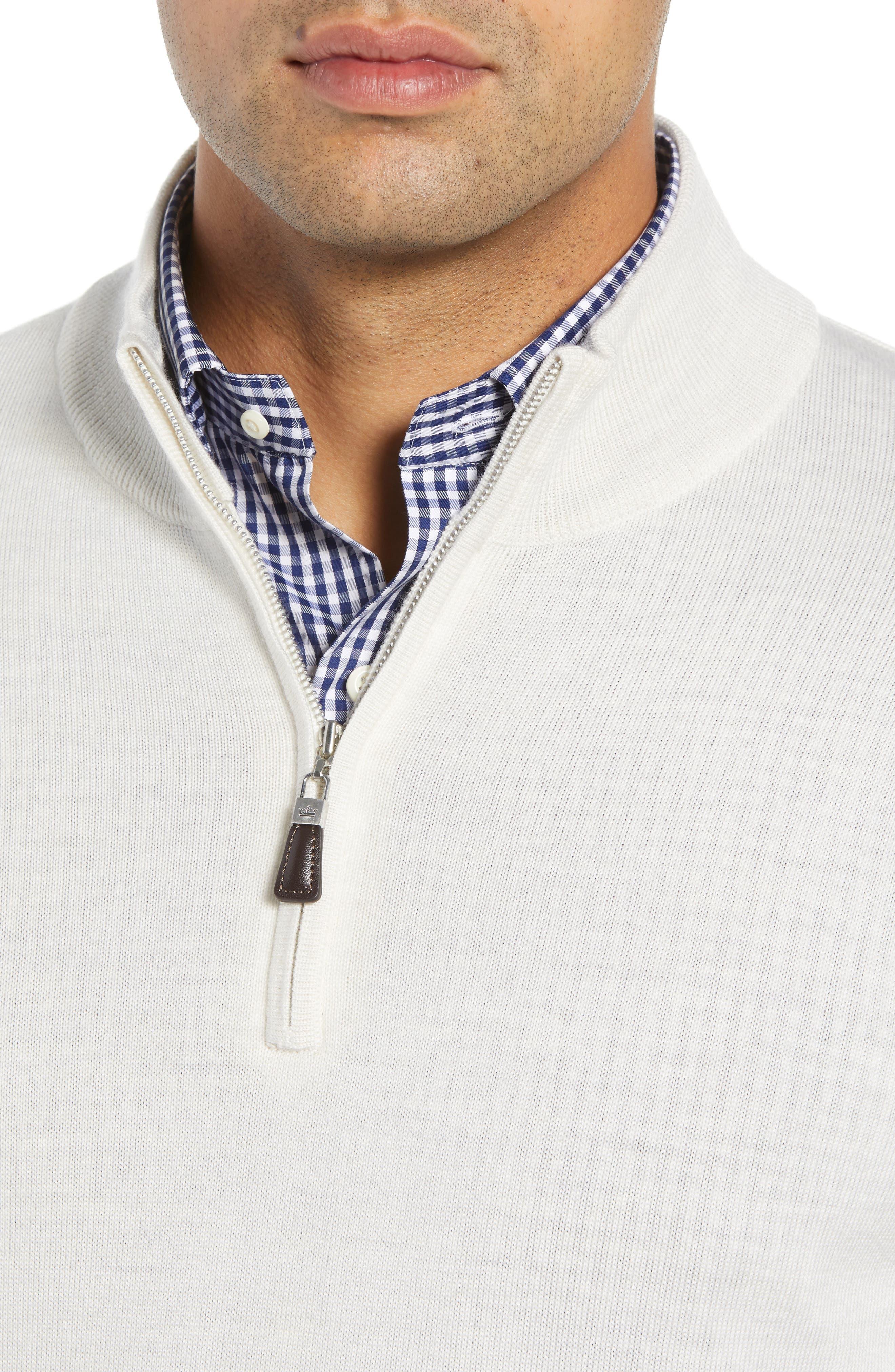 Crown Soft Regular Fit Wool Blend Quarter Zip Sweater,                             Alternate thumbnail 4, color,                             WHITE