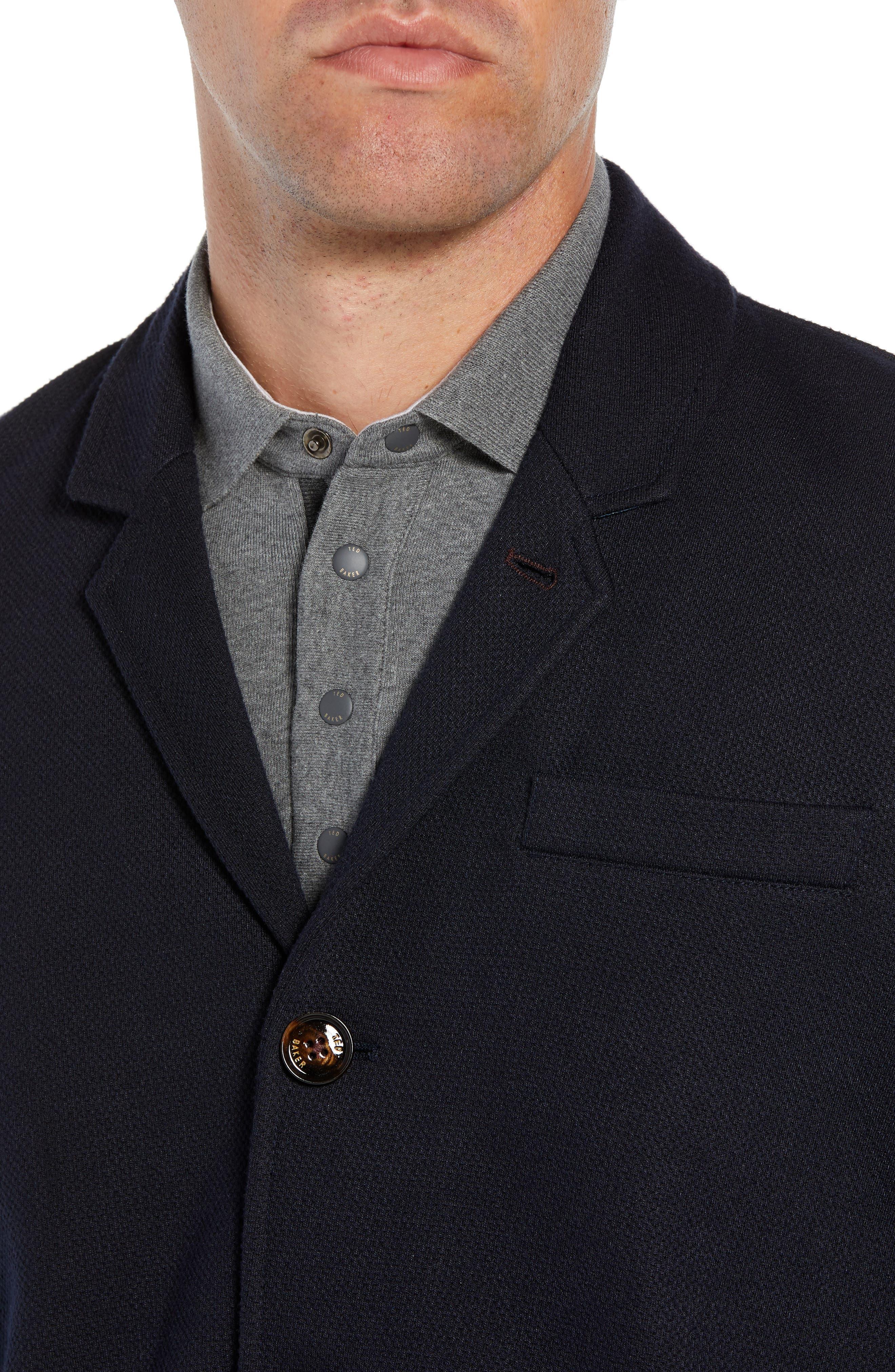 Almond Slim Fit Jersey Blazer,                             Alternate thumbnail 4, color,                             NAVY