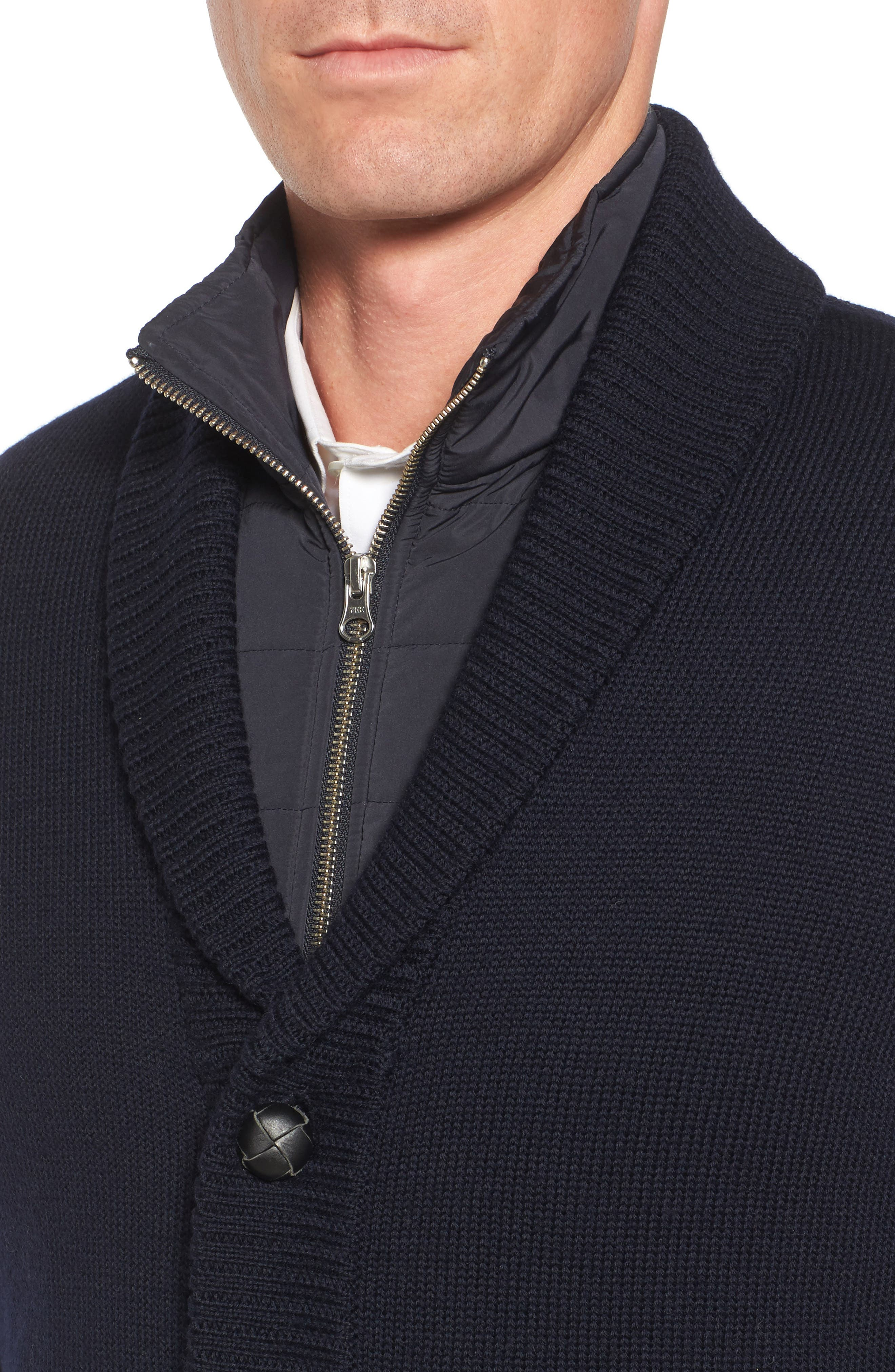 Wool Cardigan with Bib,                             Alternate thumbnail 4, color,                             410