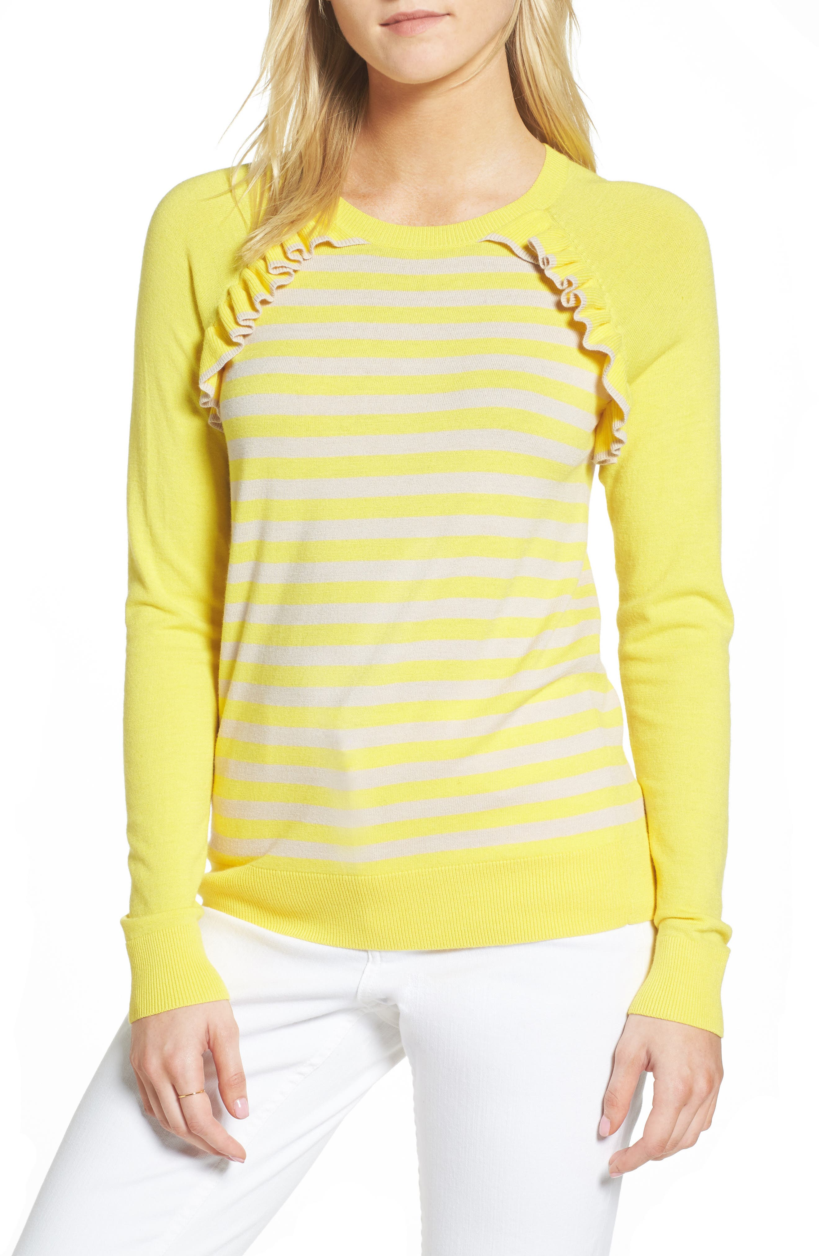 Ruffle Trim Stripe Sweater,                             Main thumbnail 3, color,