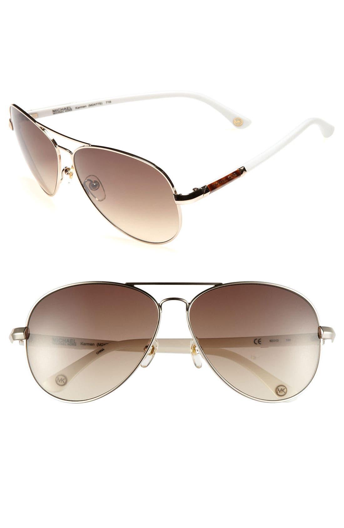 62mm Metal Aviator Sunglasses,                             Main thumbnail 7, color,