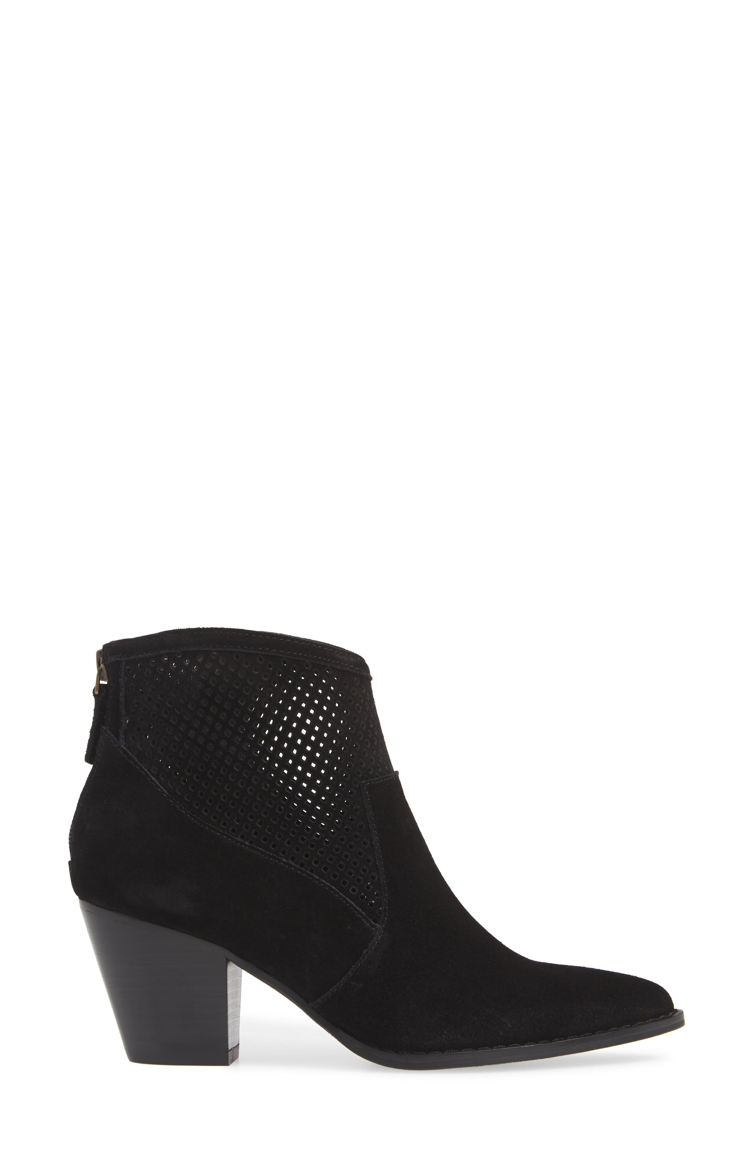 TREASURE & BOND,                             Boone Perforated Western Bootie,                             Alternate thumbnail 3, color,                             BLACK SUEDE