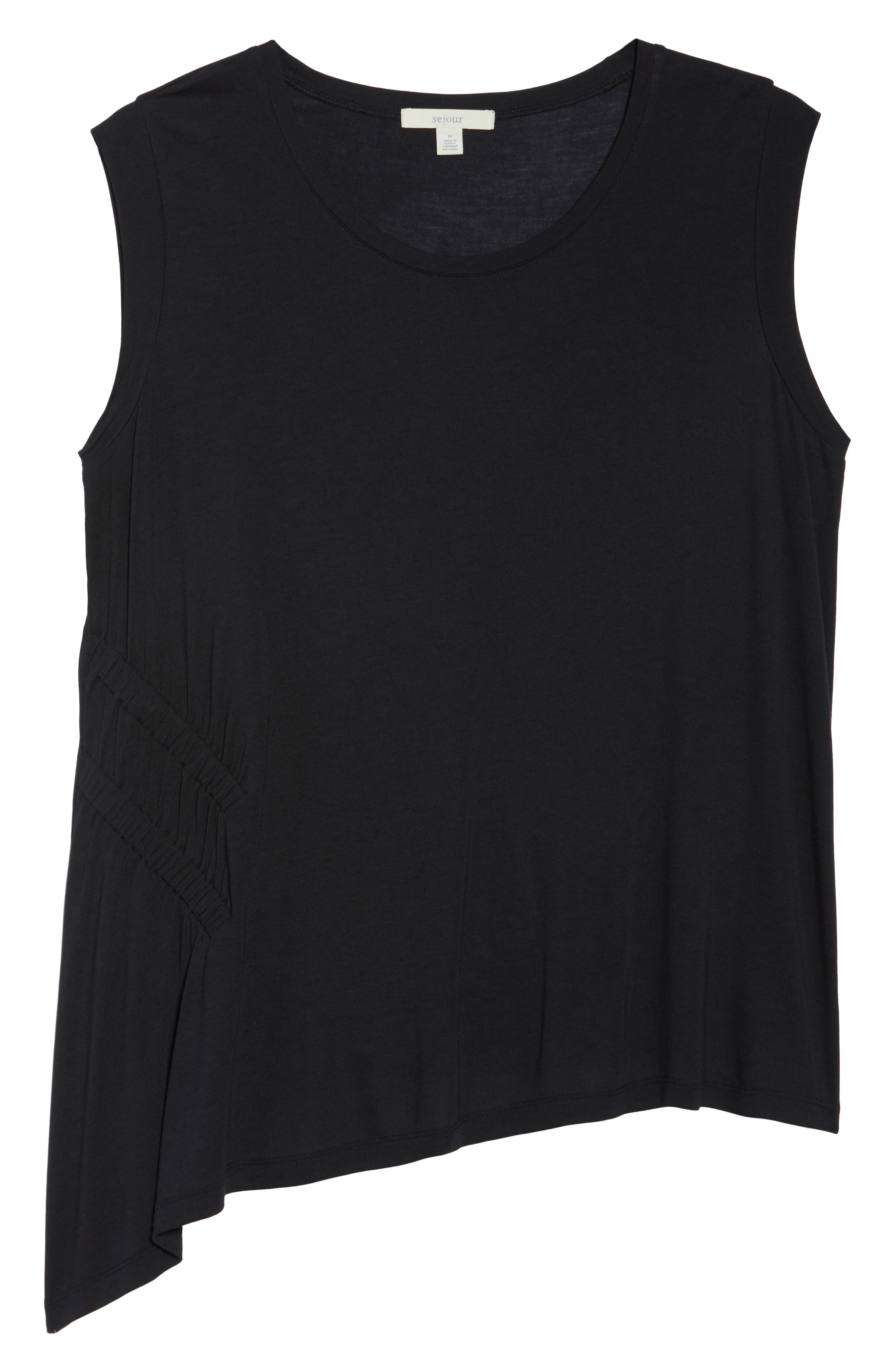 Sleeveless Ruched Asymmetrical Top,                             Alternate thumbnail 7, color,                             001