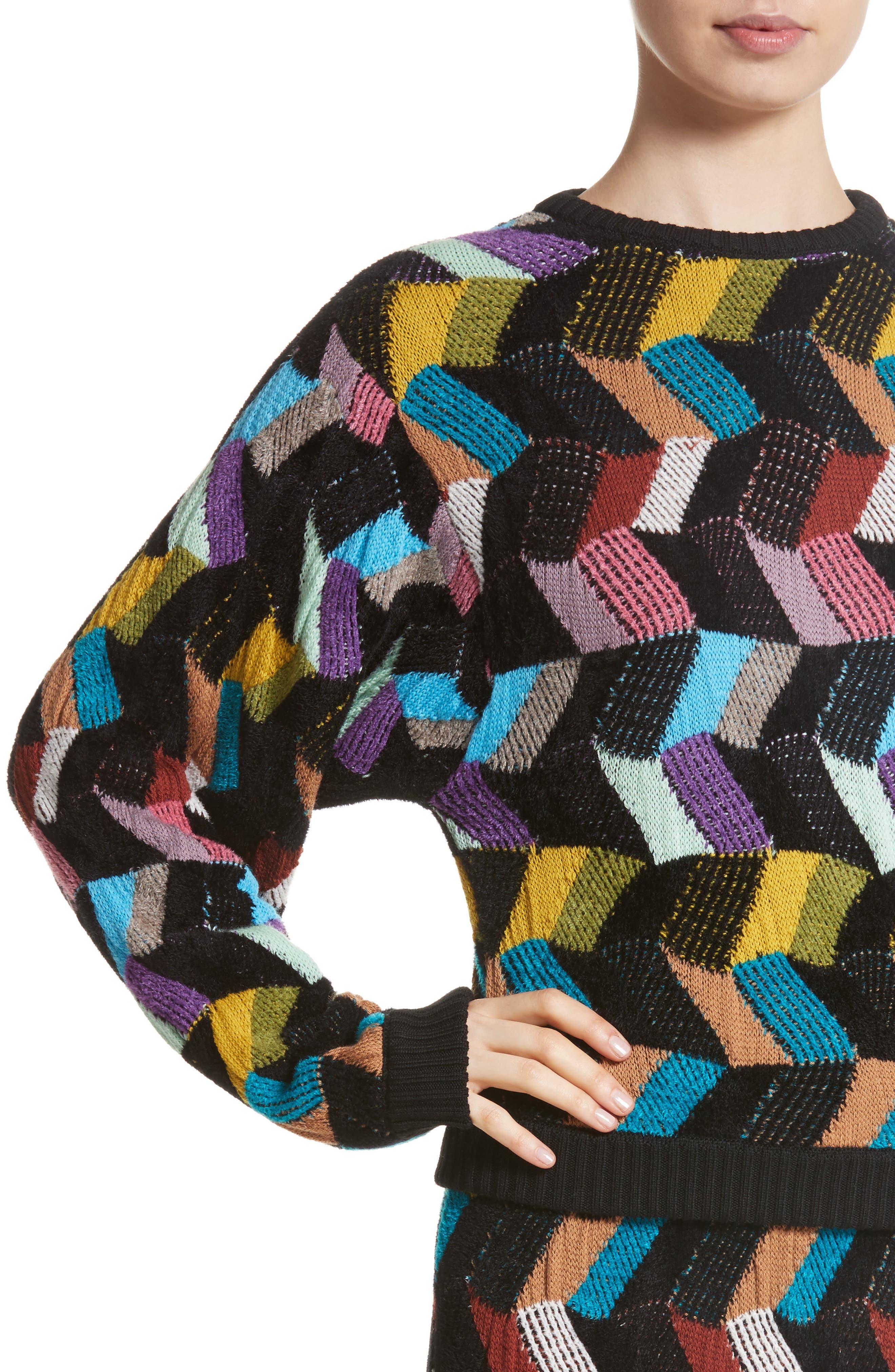 Jacquard Sweater,                             Alternate thumbnail 4, color,                             001