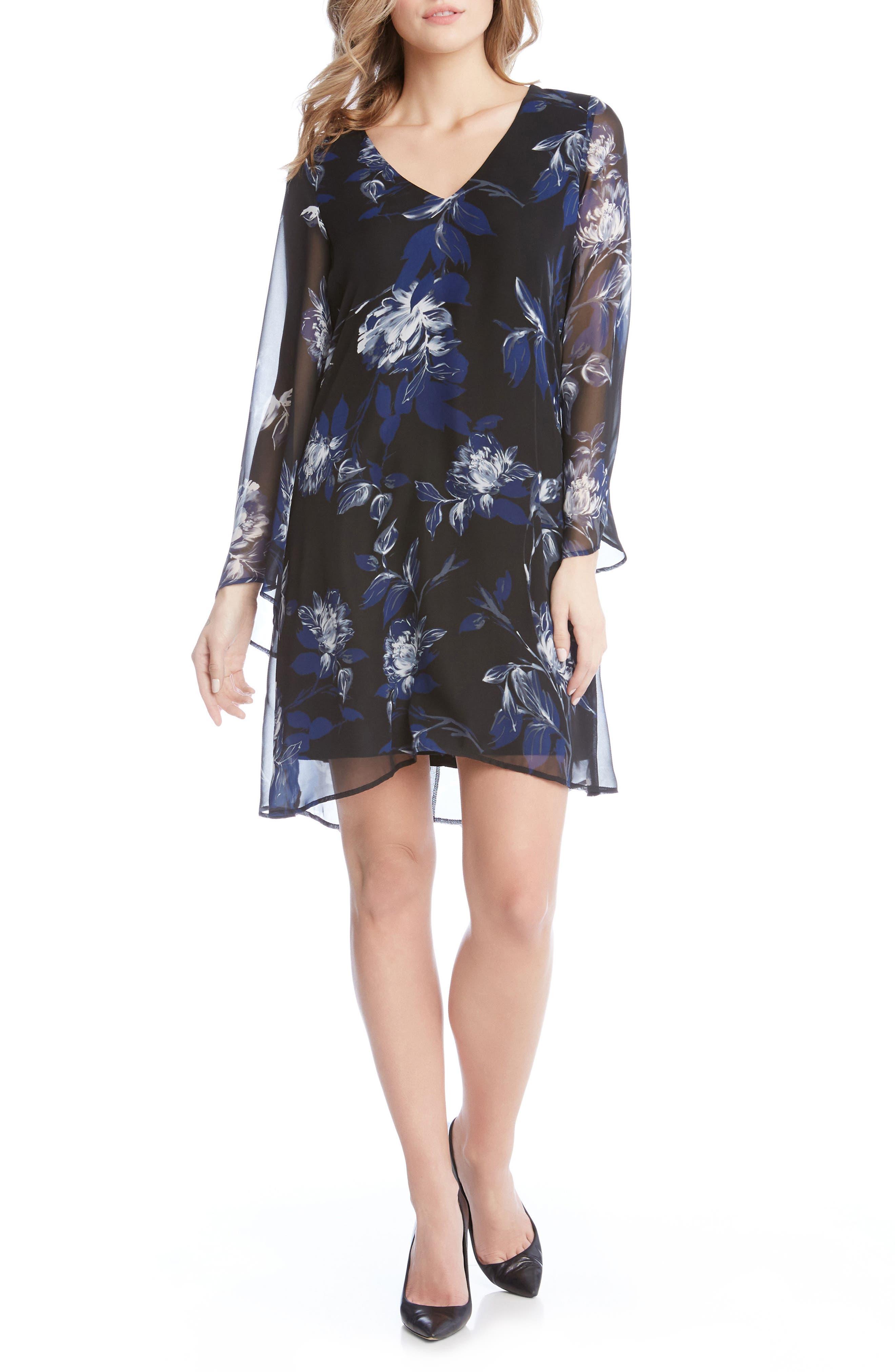 Flare Sleeve Print Chiffon Dress,                             Main thumbnail 1, color,                             560