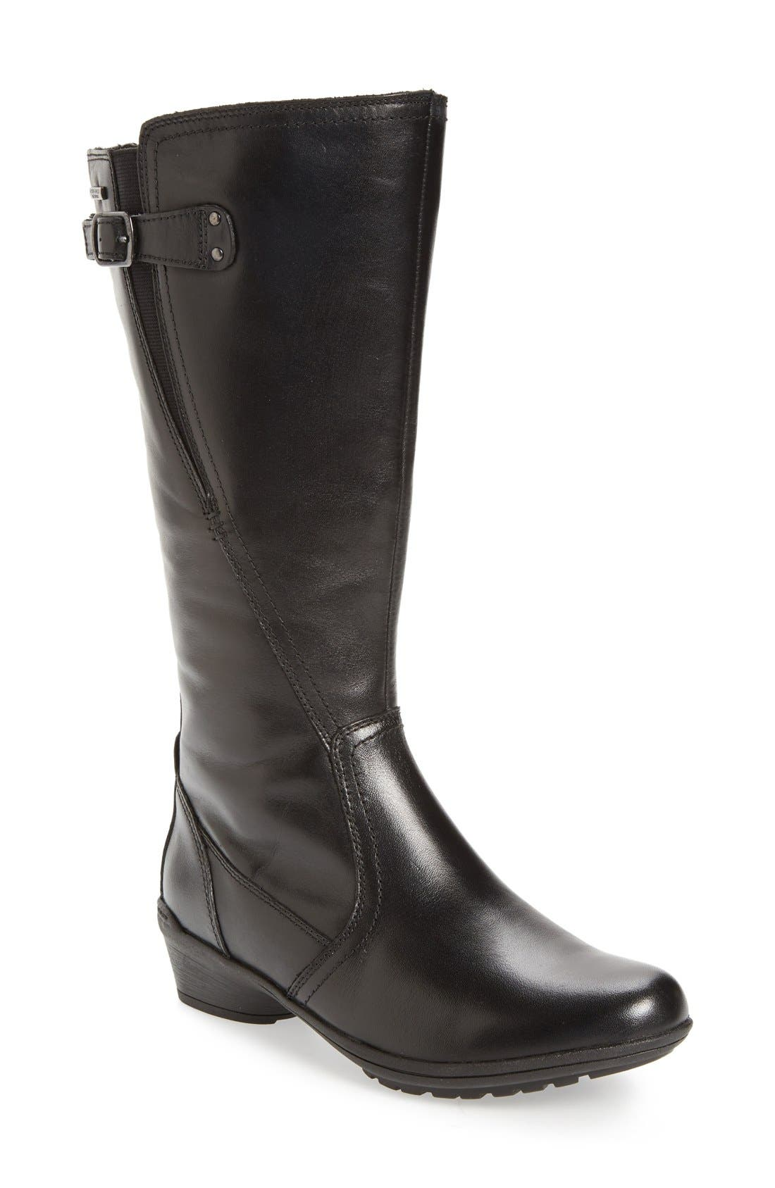 'Rayna' Waterproof Boot,                         Main,                         color, BLACK/ BLACK LEATHER