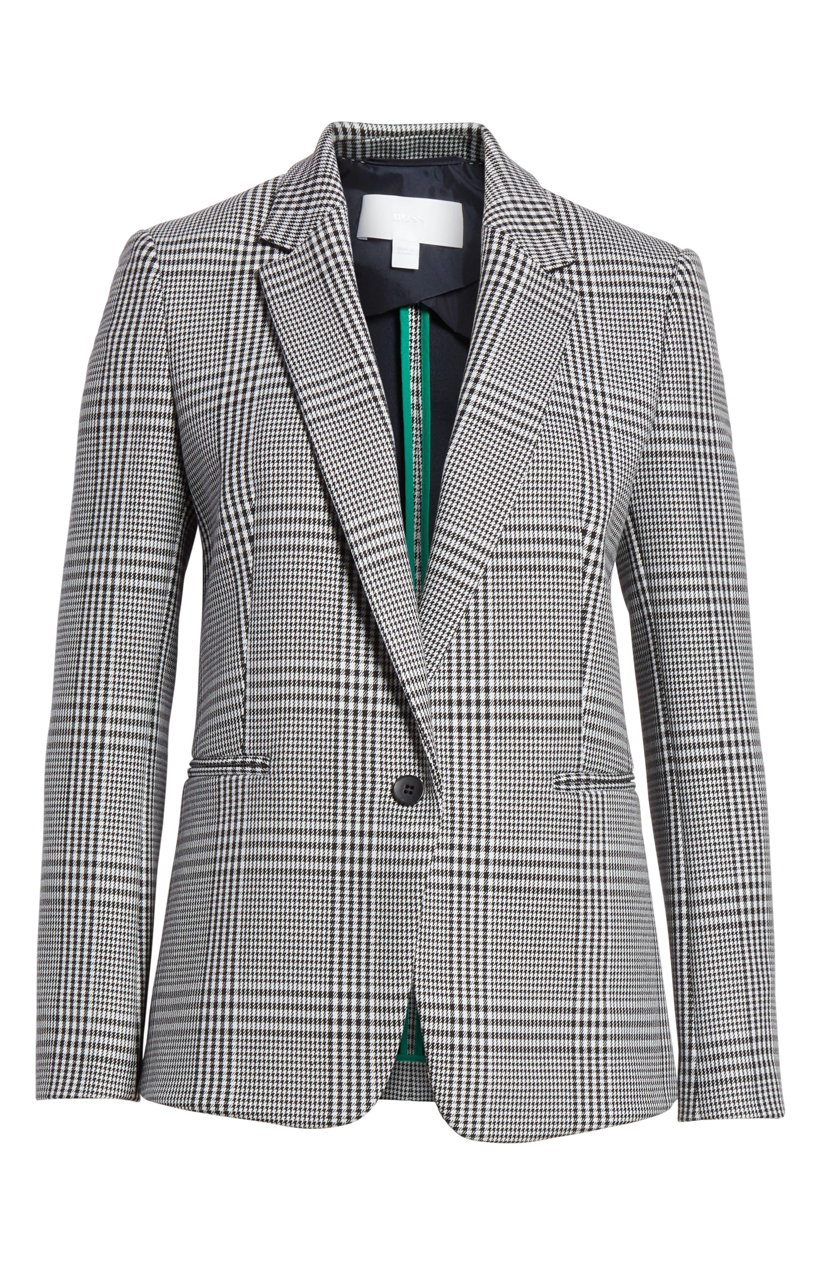 Jemaromina Glen Plaid Suit Jacket,                             Alternate thumbnail 5, color,                             GLENCHECK FANTASY