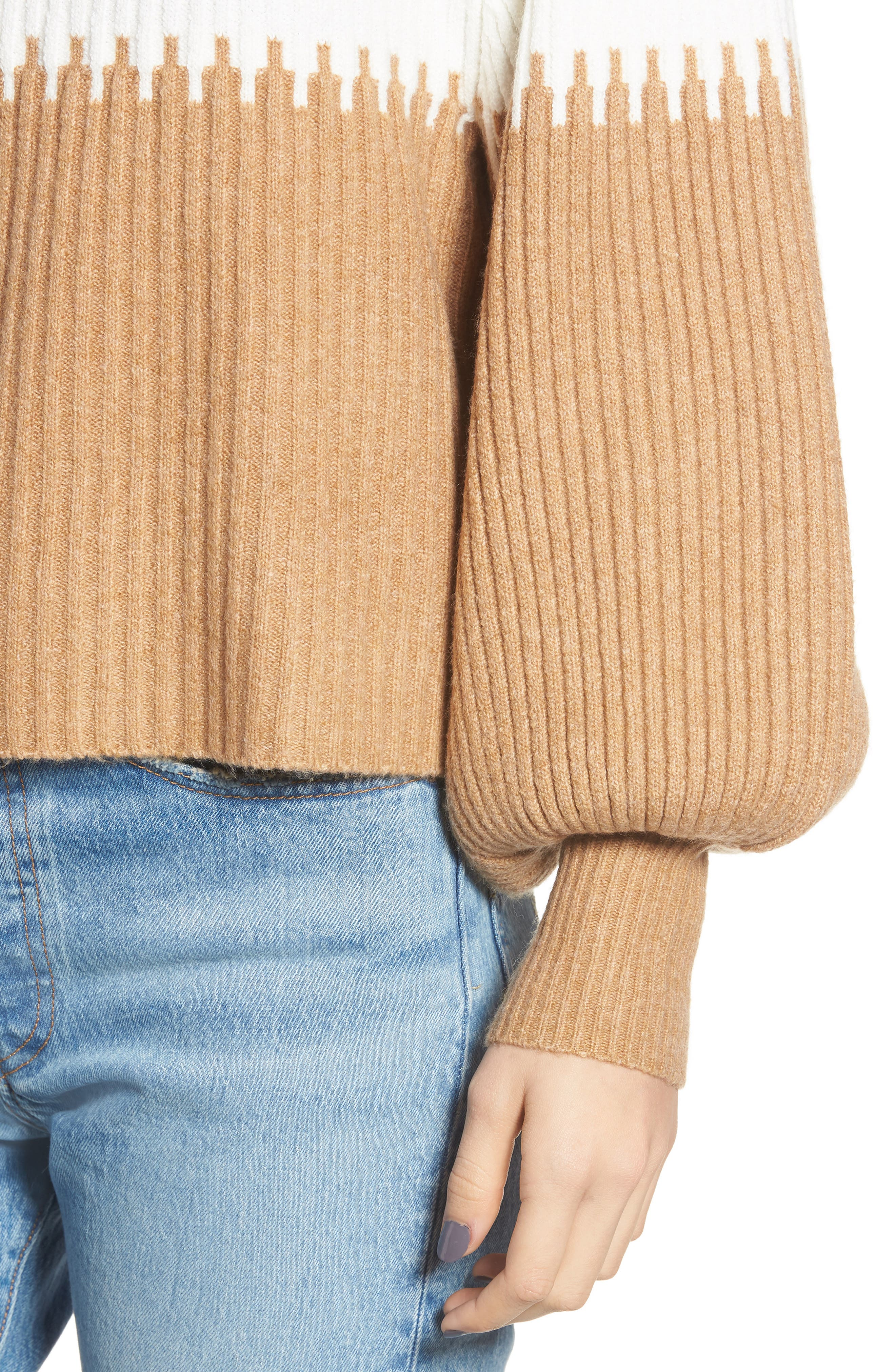Sofia Funnel Neck Sweater,                             Alternate thumbnail 4, color,                             CAMEL/ WHITE