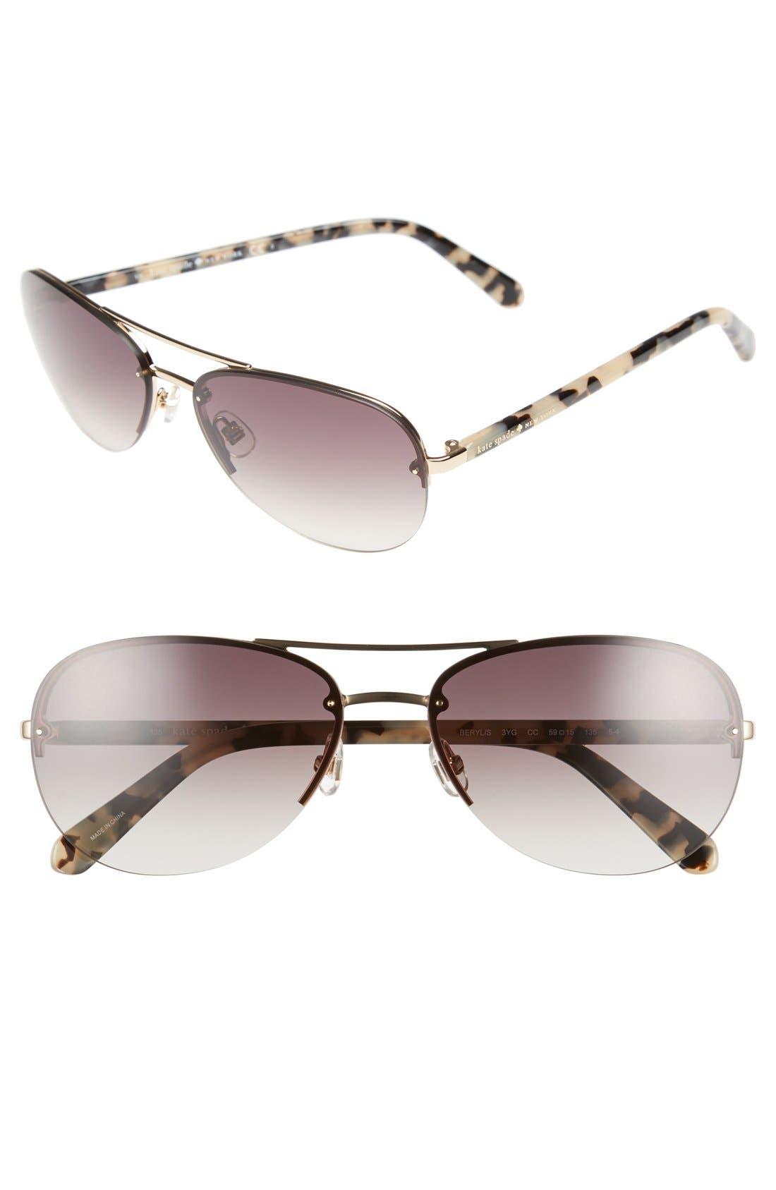 'beryls' 59mm sunglasses,                         Main,                         color, GOLD/ BROWN GRADIENT