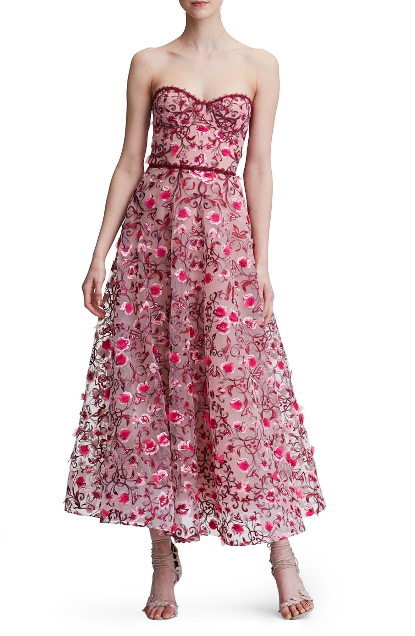Floral Embroidered Strapless Tea Length Gown,                         Main,                         color, 650