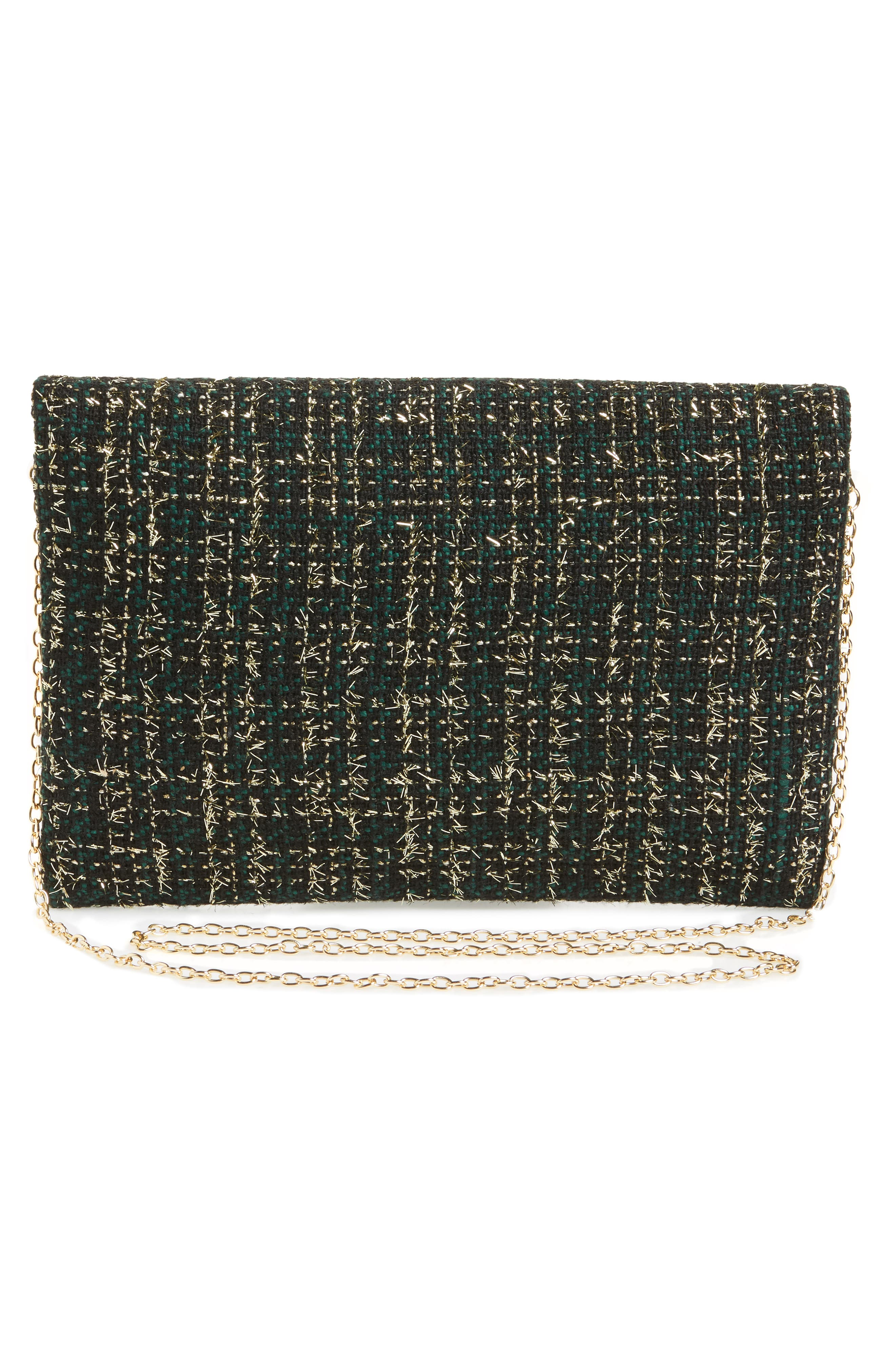 Tweed Foldover Clutch,                             Alternate thumbnail 3, color,