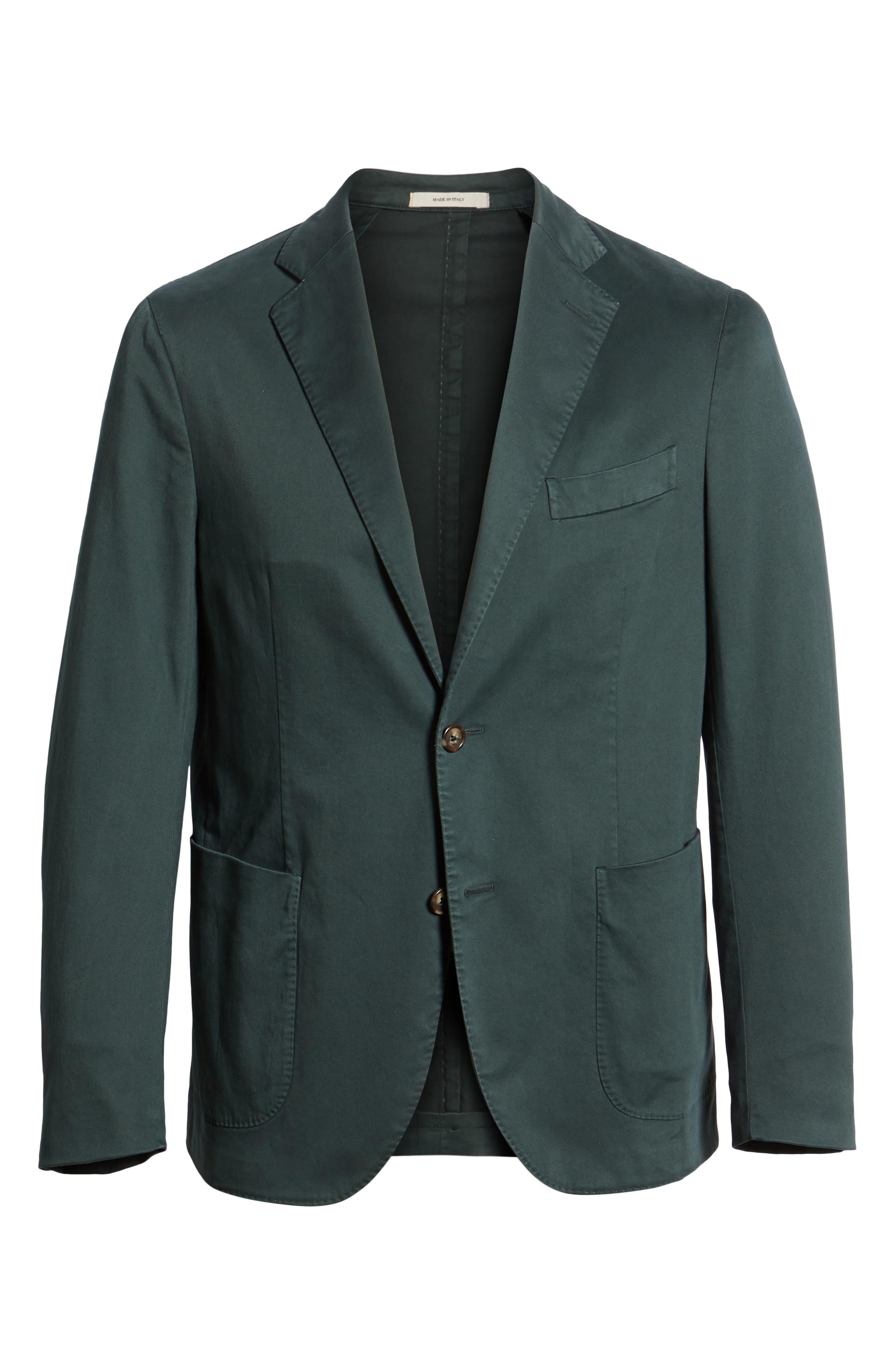Trim Fit Stretch Cotton Blazer,                             Alternate thumbnail 5, color,                             GREEN