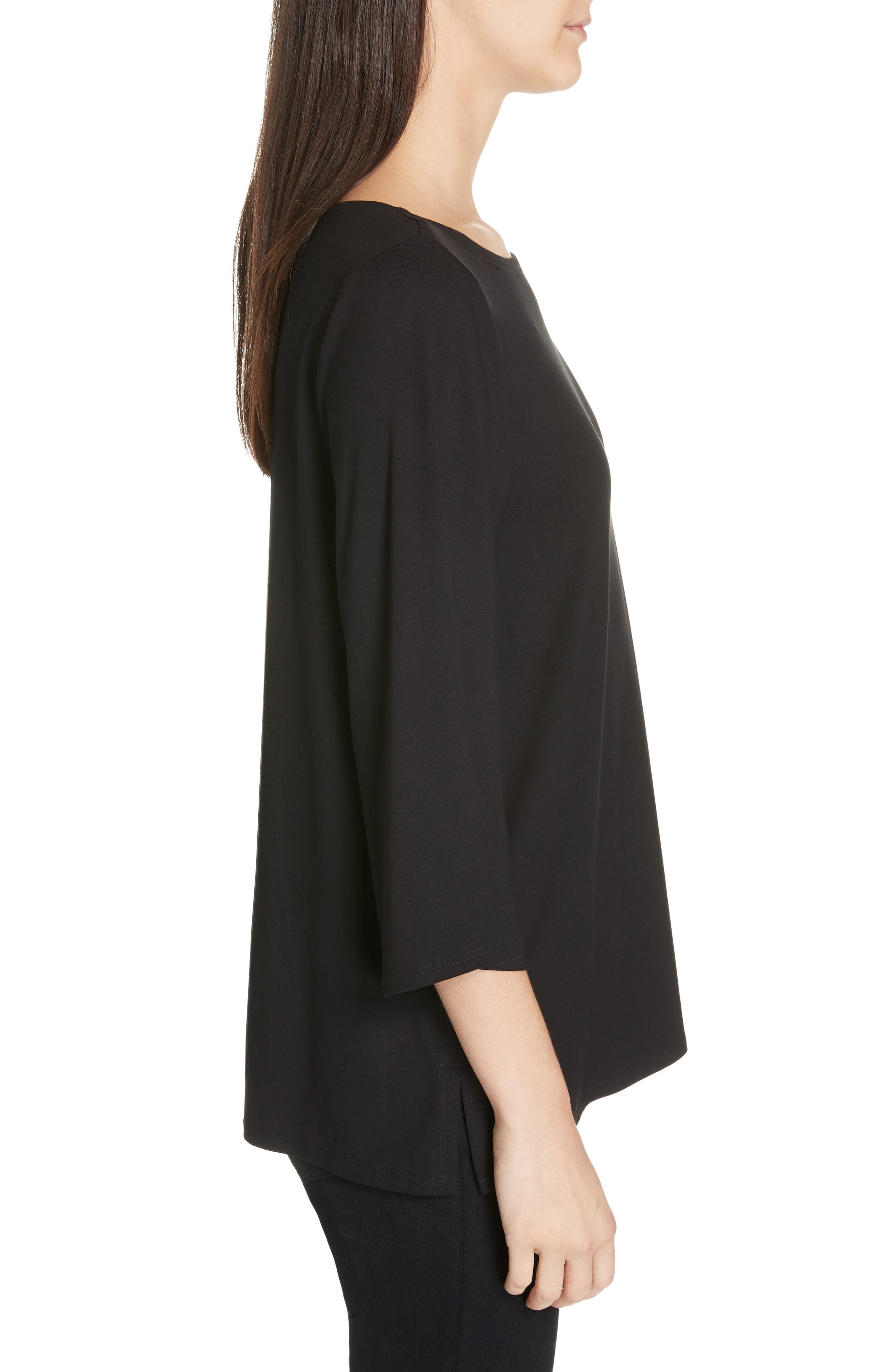 Bell Sleeve Jersey Top,                             Alternate thumbnail 3, color,                             BLACK
