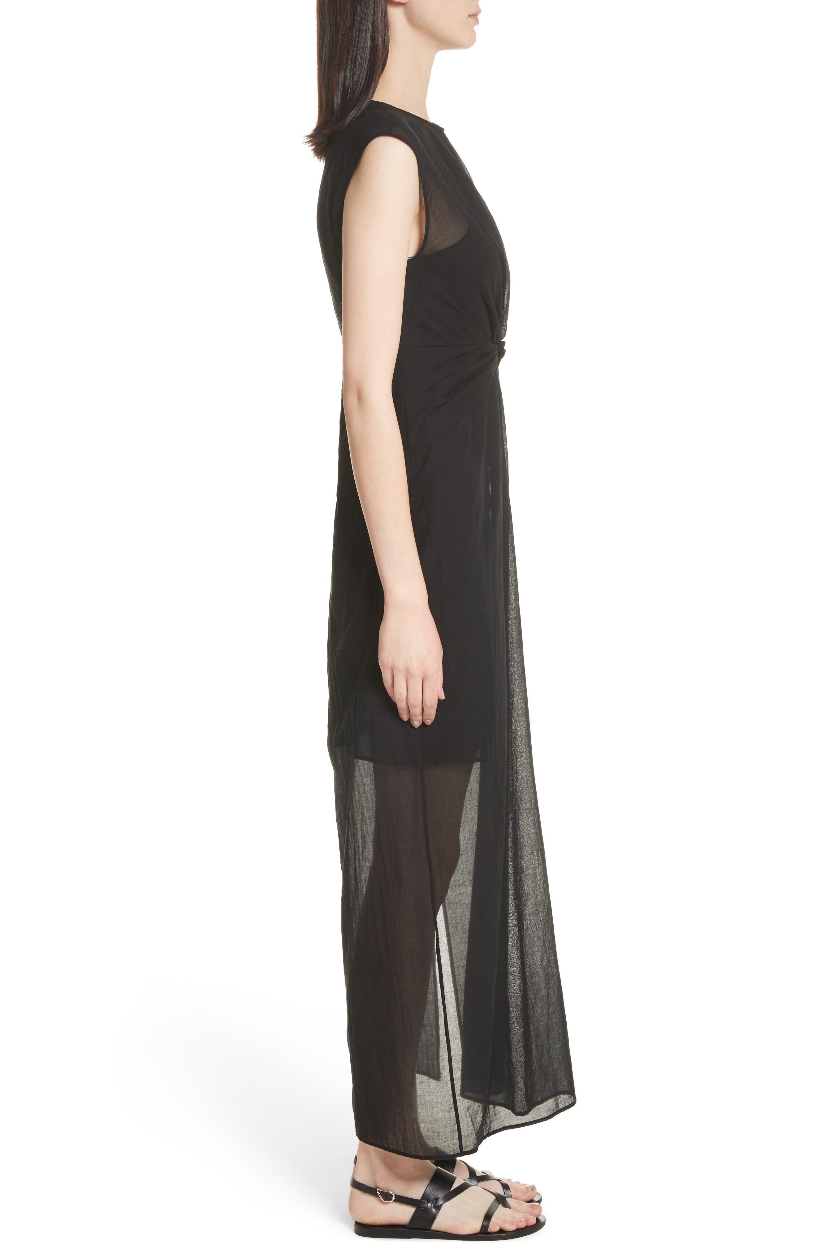 Knot Front Maxi Dress,                             Alternate thumbnail 3, color,                             001