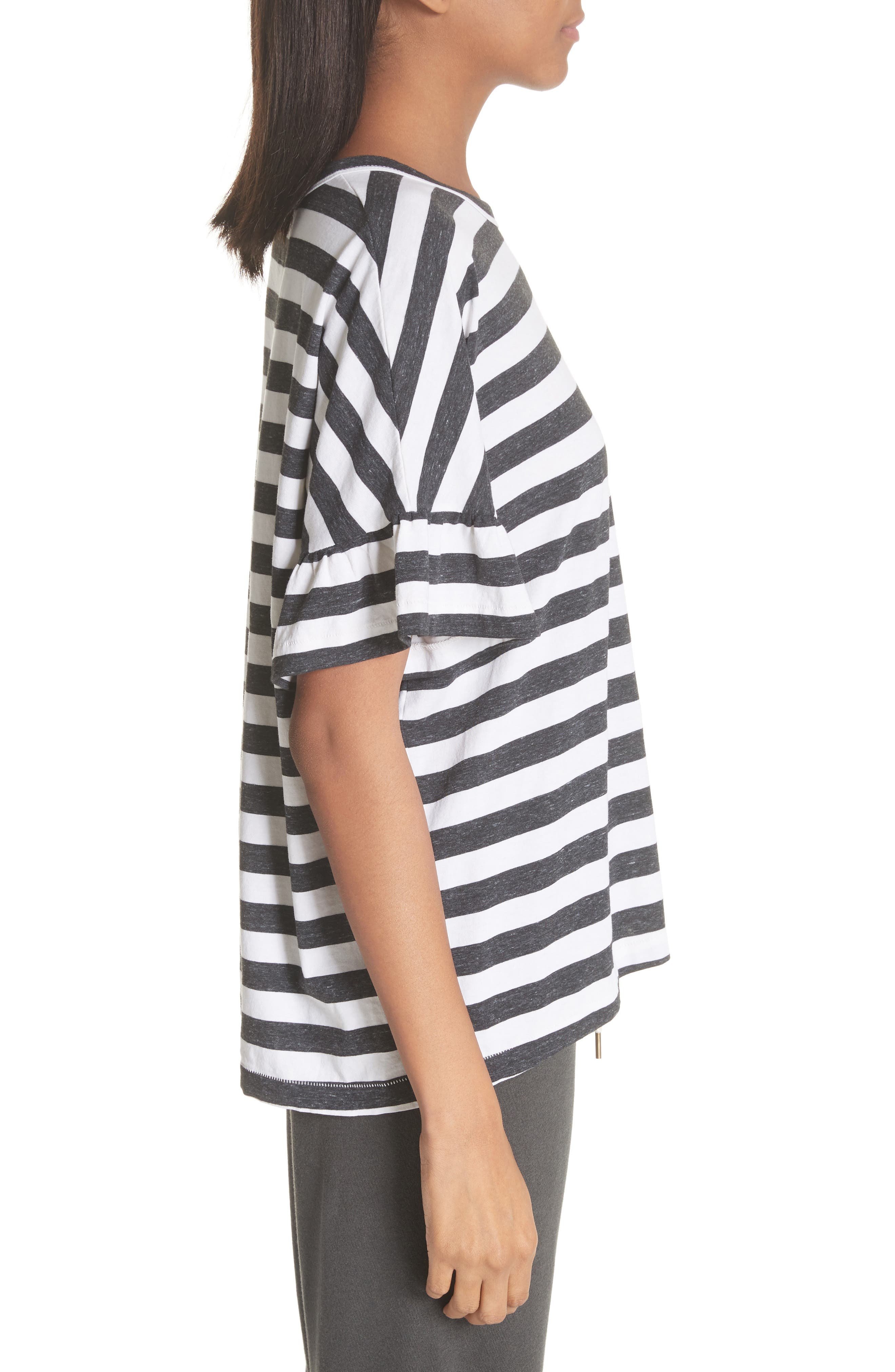 The Ruffle Stripe Tee,                             Alternate thumbnail 3, color,                             020