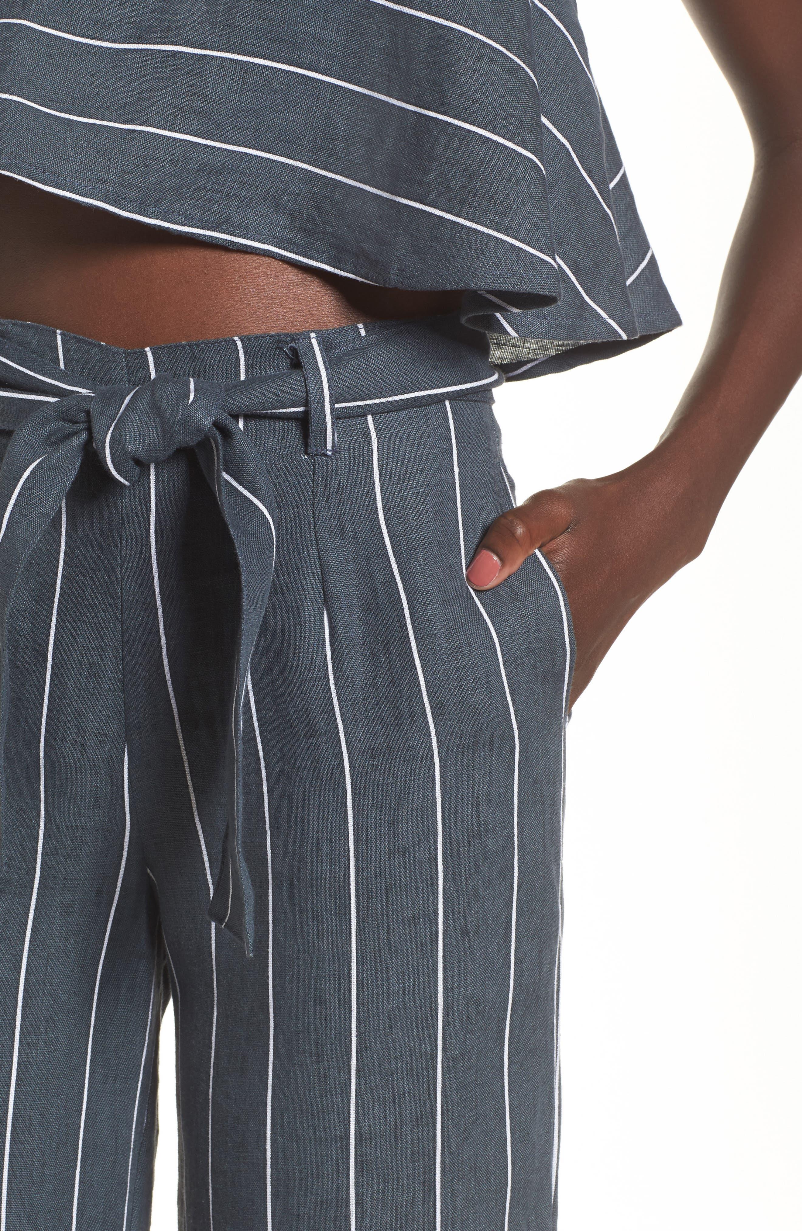 Como Pinstripe Wide Leg Crop Linen Pants,                             Alternate thumbnail 4, color,                             CHARCOAL